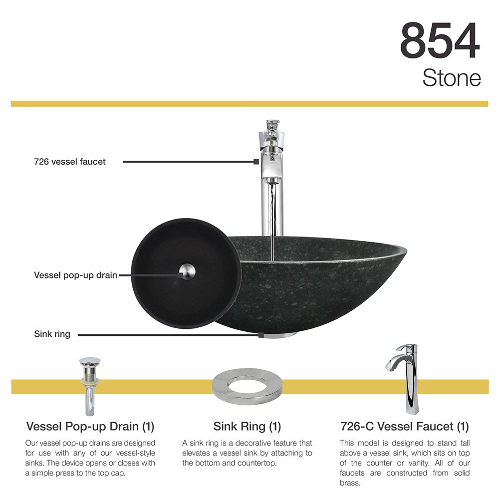 Shop 854 Honed Basalt Granite Sink with Faucet, Sink Ring, and Pop ...