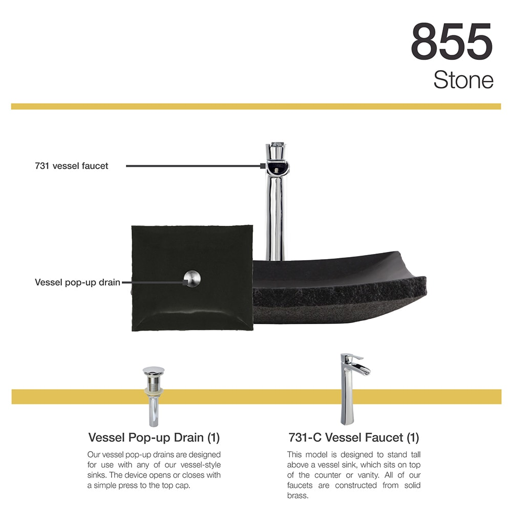 Shop 855 Shanxi Black Granite Sink with Faucet and Pop-Up Drain in ...