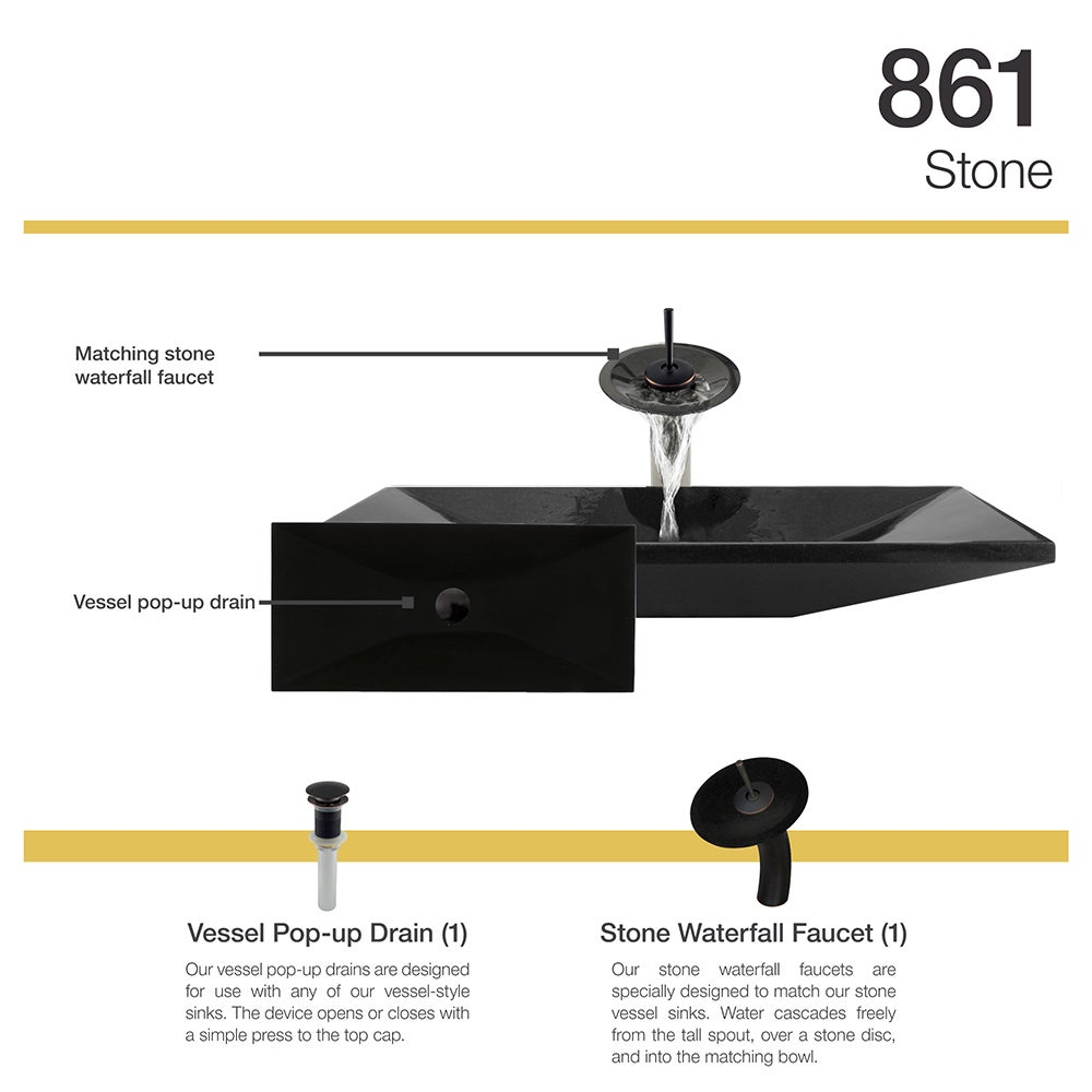 861 Shanxi Black Vessel Sink with Faucet and Pop-Up Drain in Antique ...