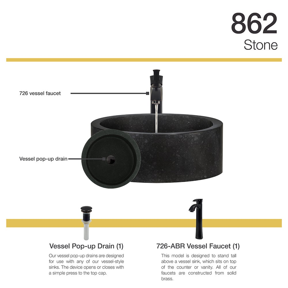 Shop 862 Honed Basalt Vessel Sink with Faucet and Pop-Up Drain in ...