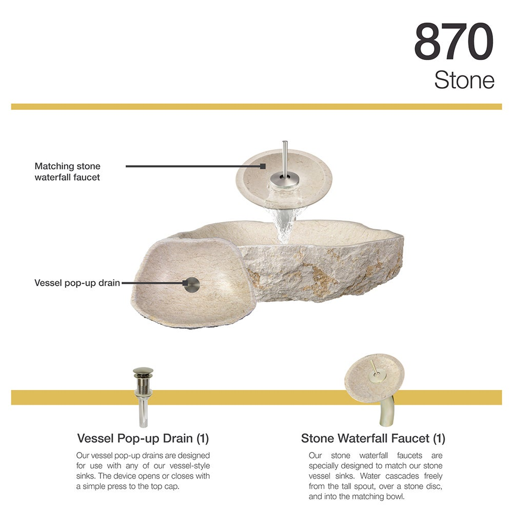 870 Galaga Beige Marble Sink with Faucet and Pop-Up Drain in Brushed ...
