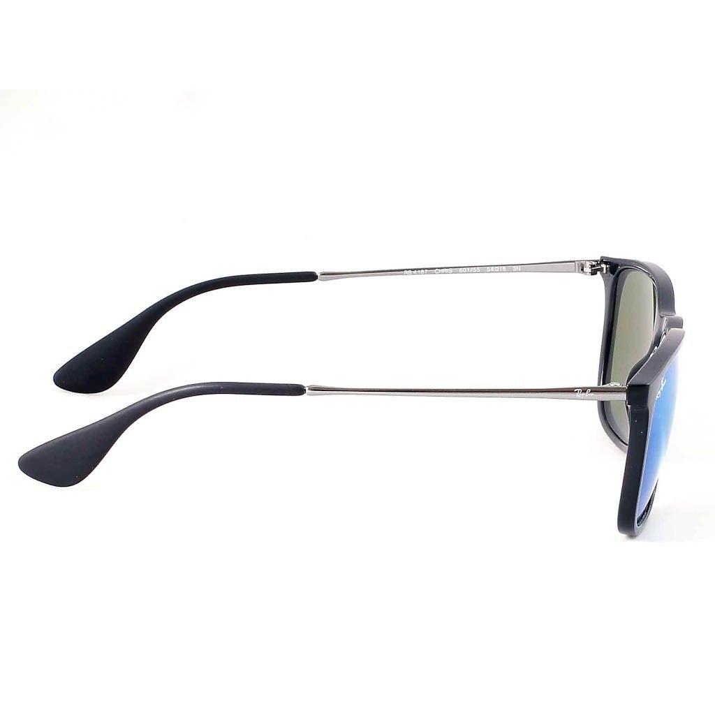 f690234d91c Shop Ray-Ban Chris RB4187 601 55 Men s Black Gunmetal Frame Blue Mirror  Lens Sunglasses - Free Shipping Today - Overstock - 15079548