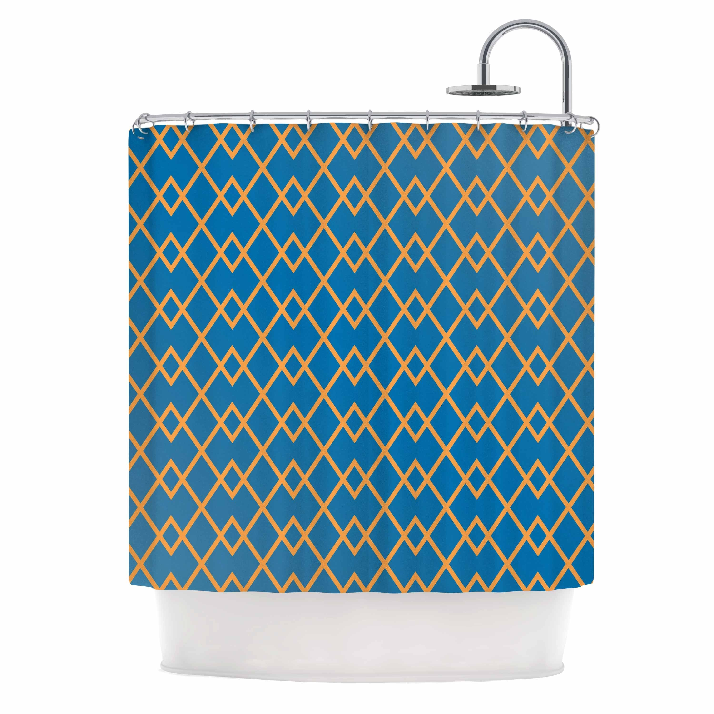Shop KESS InHouse Matt Eklund Down By The Beach Blue Gold Shower Curtain 69x70