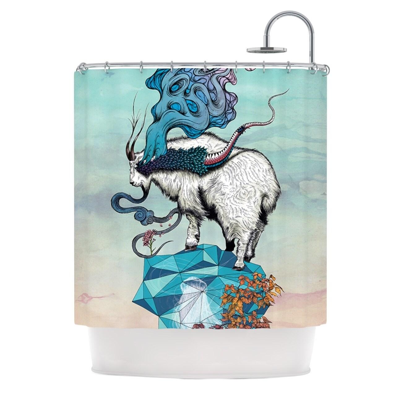 Shop KESS InHouse Mat Miller Seeking New Heights Blue Goat Shower Curtain 69x70