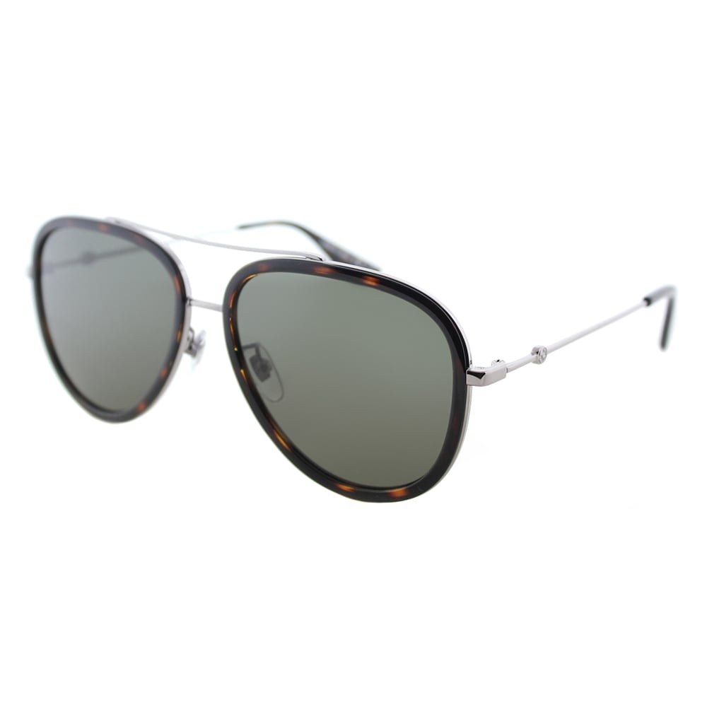 b1ee8fb34675a Gucci GG 0062S 002 Women s Havana Ruthenium Silver Metal Aviator Sunglasses