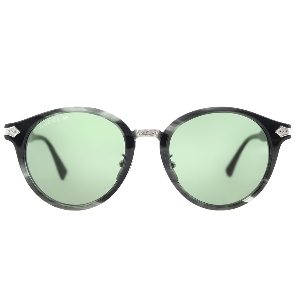 d8d9b8bd320 Shop Gucci GG 0066S 003 Grey Horn Plastic Round Sunglasses Green Lens -  Free Shipping Today - Overstock - 15091164