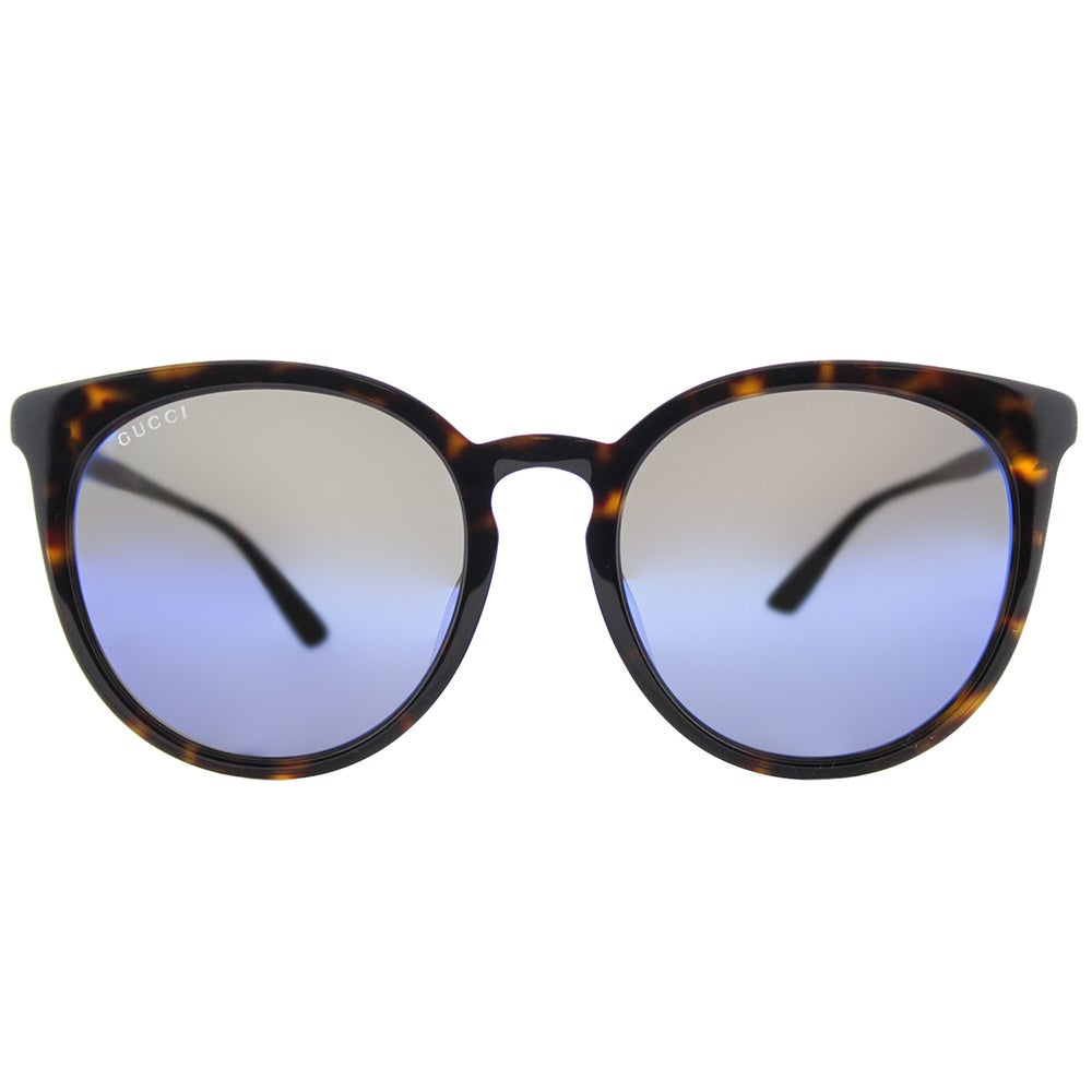 ddbf9a7ac986 Shop Gucci Unisex GG 0064SK 003 Havana Plastic Round Sunglasses with Blue  Mirror Lenses - Free Shipping Today - Overstock - 15091168