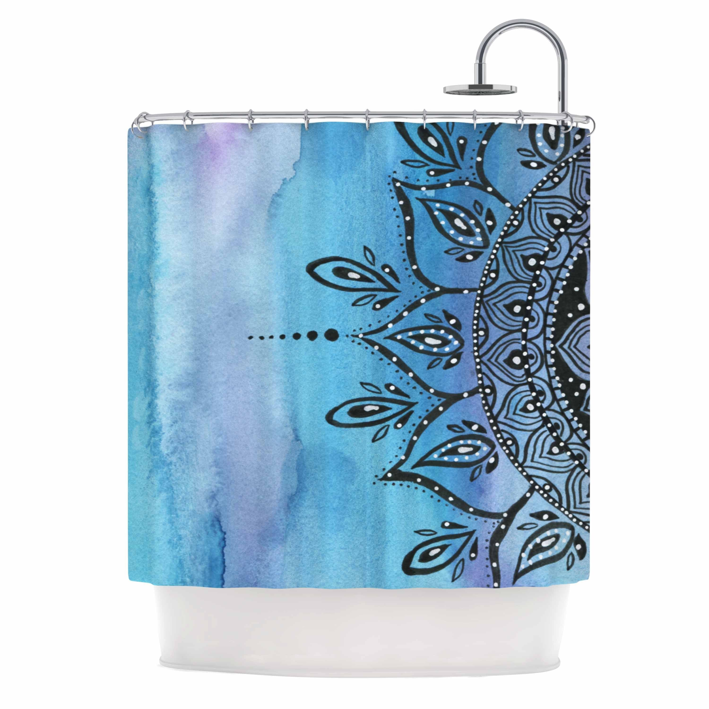 KESS InHouse Li Zamperini Blue Mandala Aqua Black Shower Curtain ...
