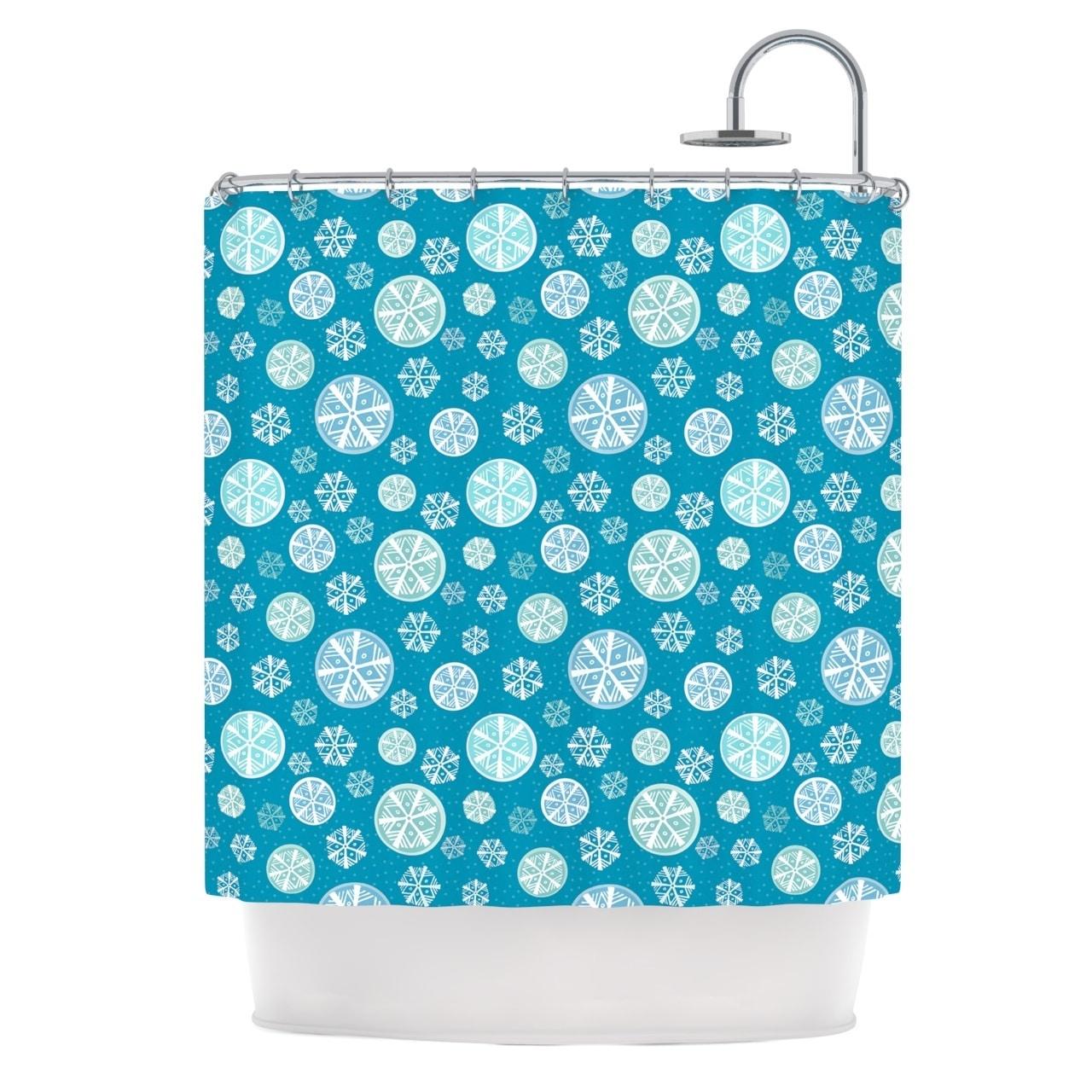 Shop KESS InHouse Julie Hamilton Snowflake Sky Blue Shower Curtain 69x70