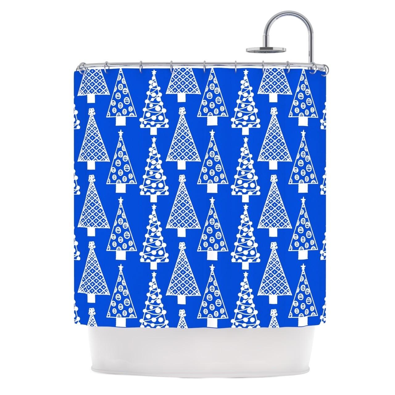 Shop KESS InHouse Emine Ortega Jolly Trees Blue Royal Shower Curtain 69x70