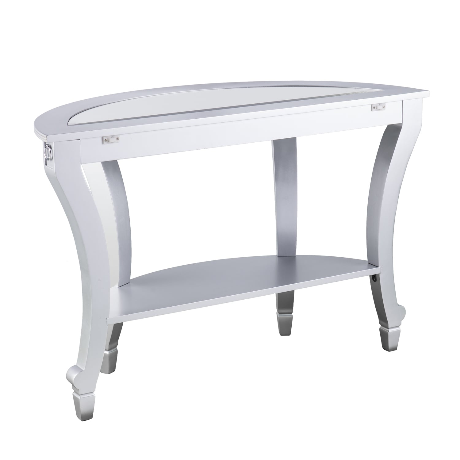 Silver Orchid Olivia Glam Mirrored Demilune Console Table Matte Free Shipping Today 22695093