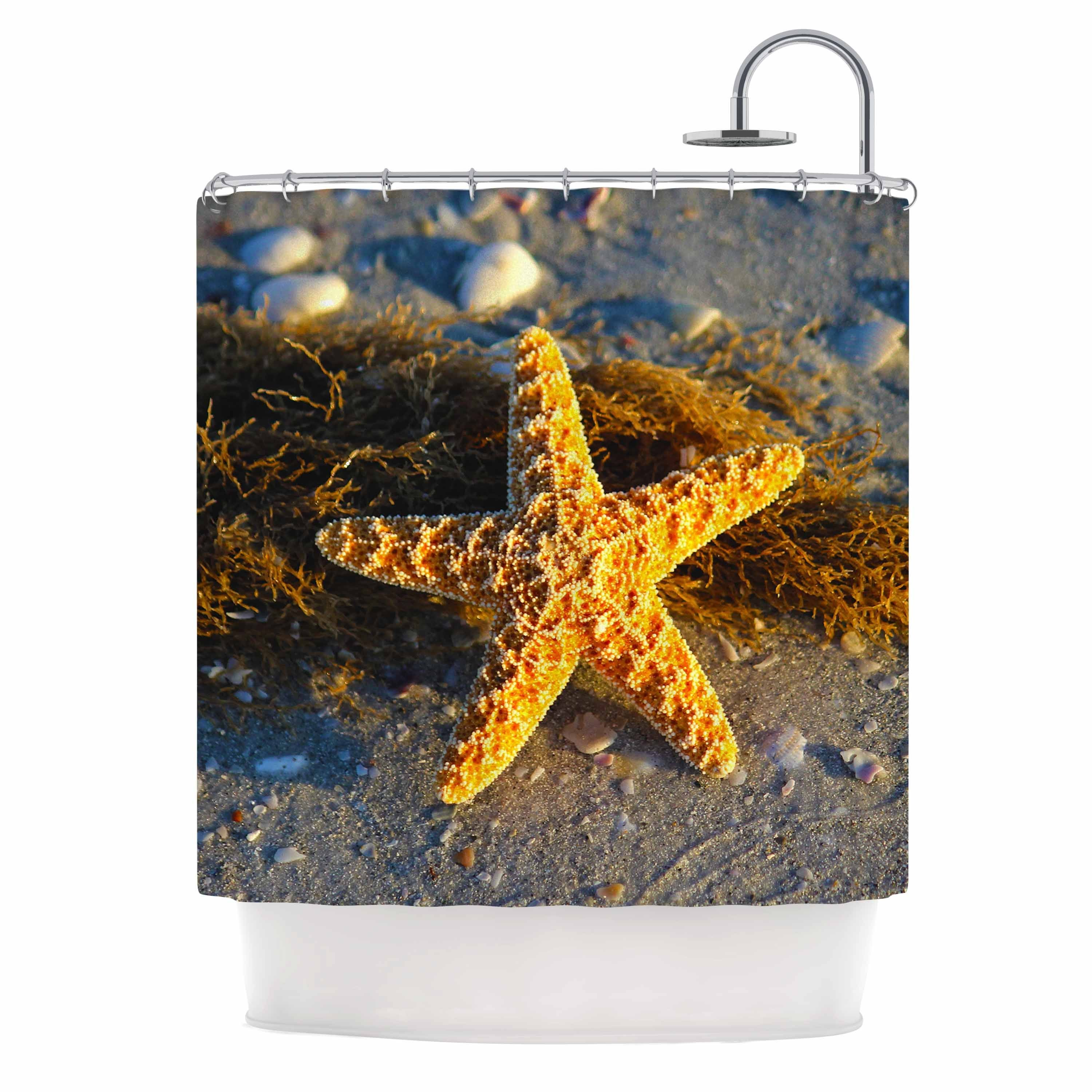 Shop KESS InHouse Philip Brown Starfish Coral Gold Shower Curtain 69x70