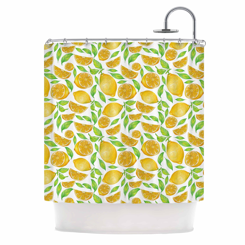 KESS InHouse Alisa Drukman Lemons Yellow Floral Shower Curtain 69x70