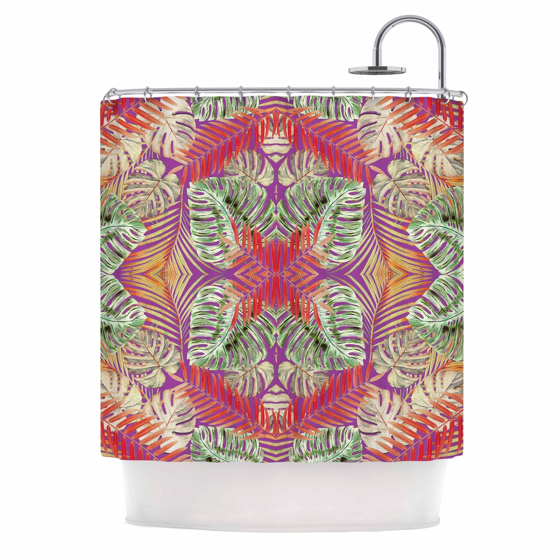 KESS InHouse Alison Coxson Summer Jungle Love Purple Green Red Shower Curtain 69x70
