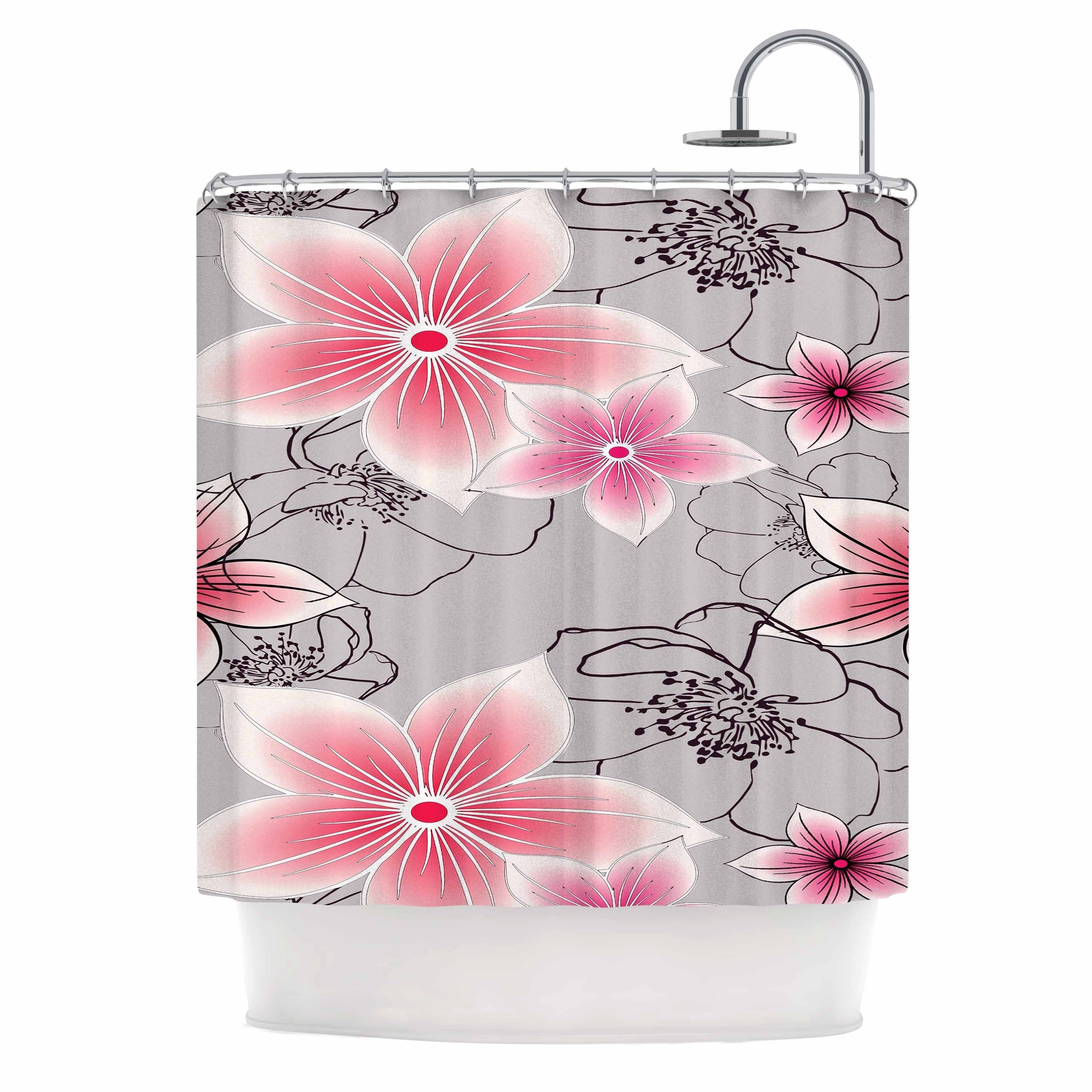 Shop KESS InHouse Alison Coxon Grey And Pink Floral Shower Curtain 69x70