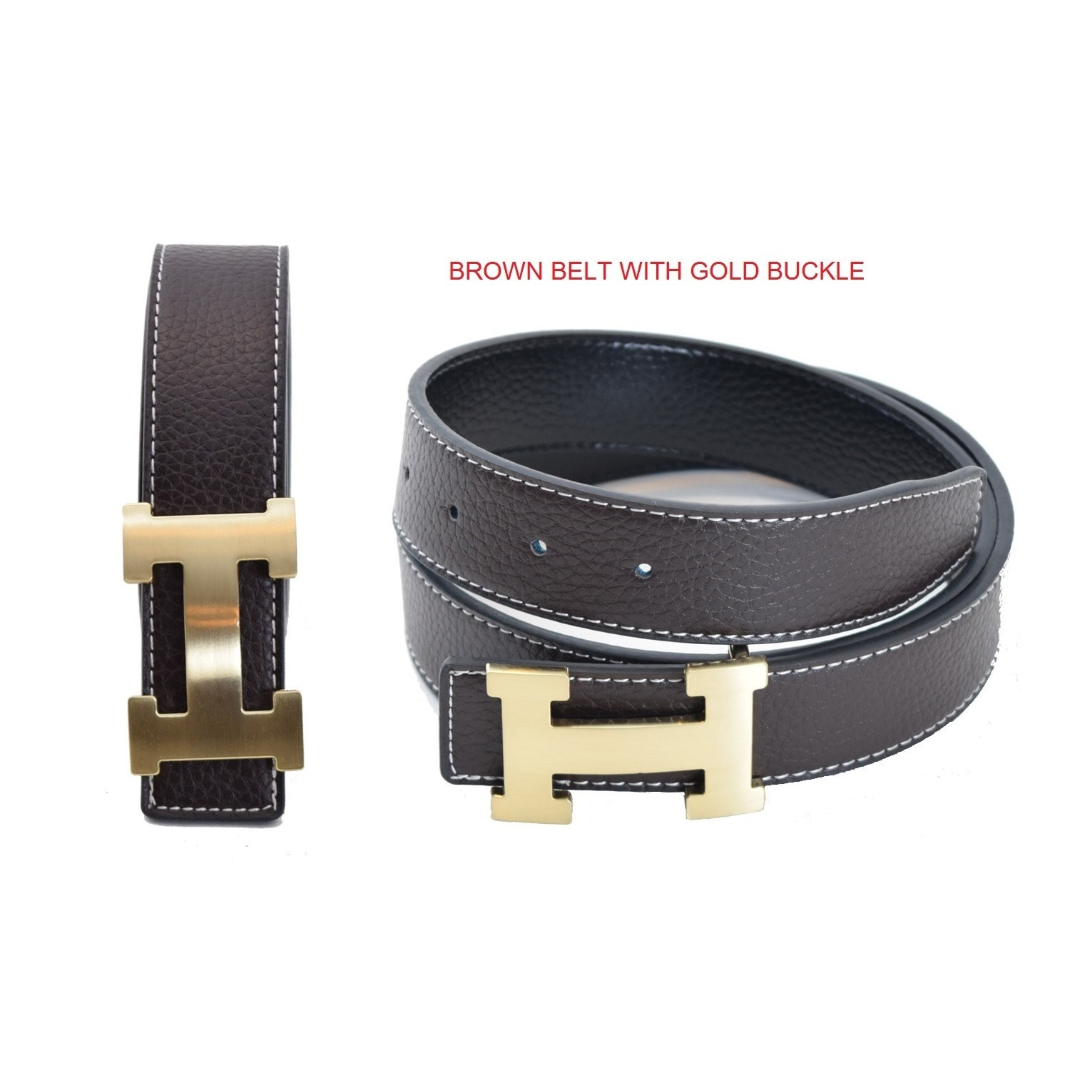 eb86ddc2a9b Unisex H-design Reversible Belt with Removable Buckle (FITS JEAN SIZE 26 TO  32 34)