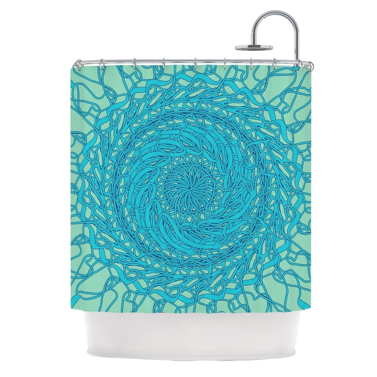 Shop KESS InHouse Patternmuse Mandala Spin Mint Green Blue Shower Curtain 69x70