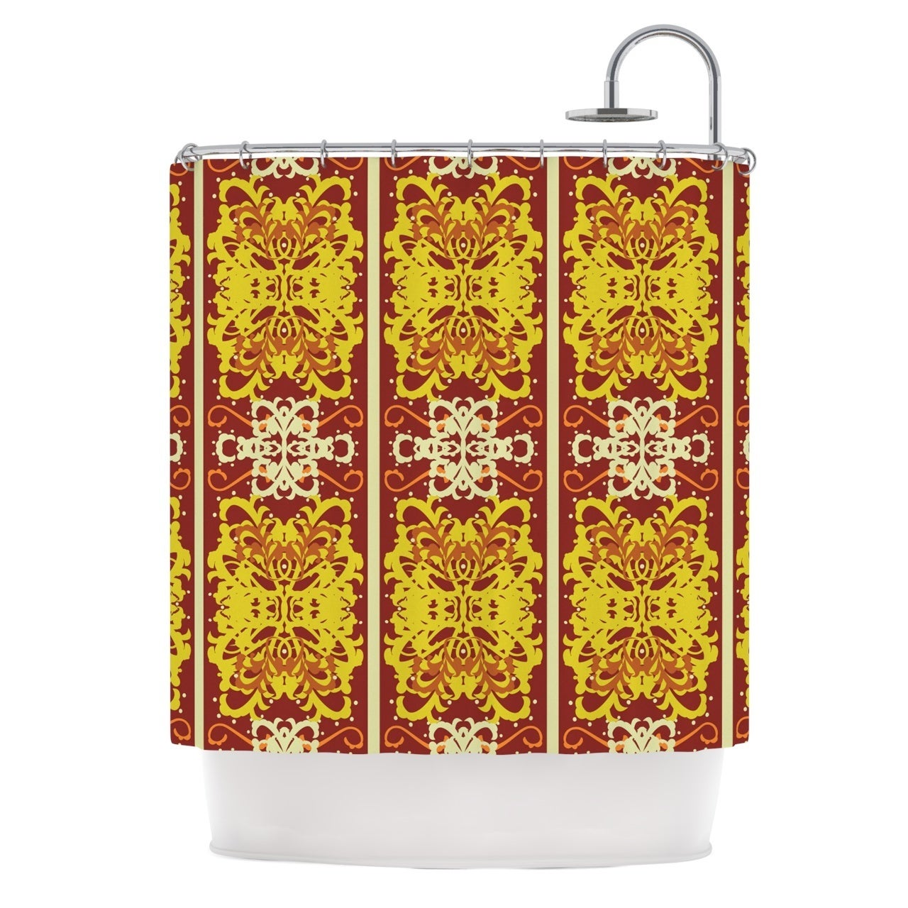 Shop KESS InHouse Mydeas Butterfly Dog Damask Yellow Red Shower Curtain 69x70