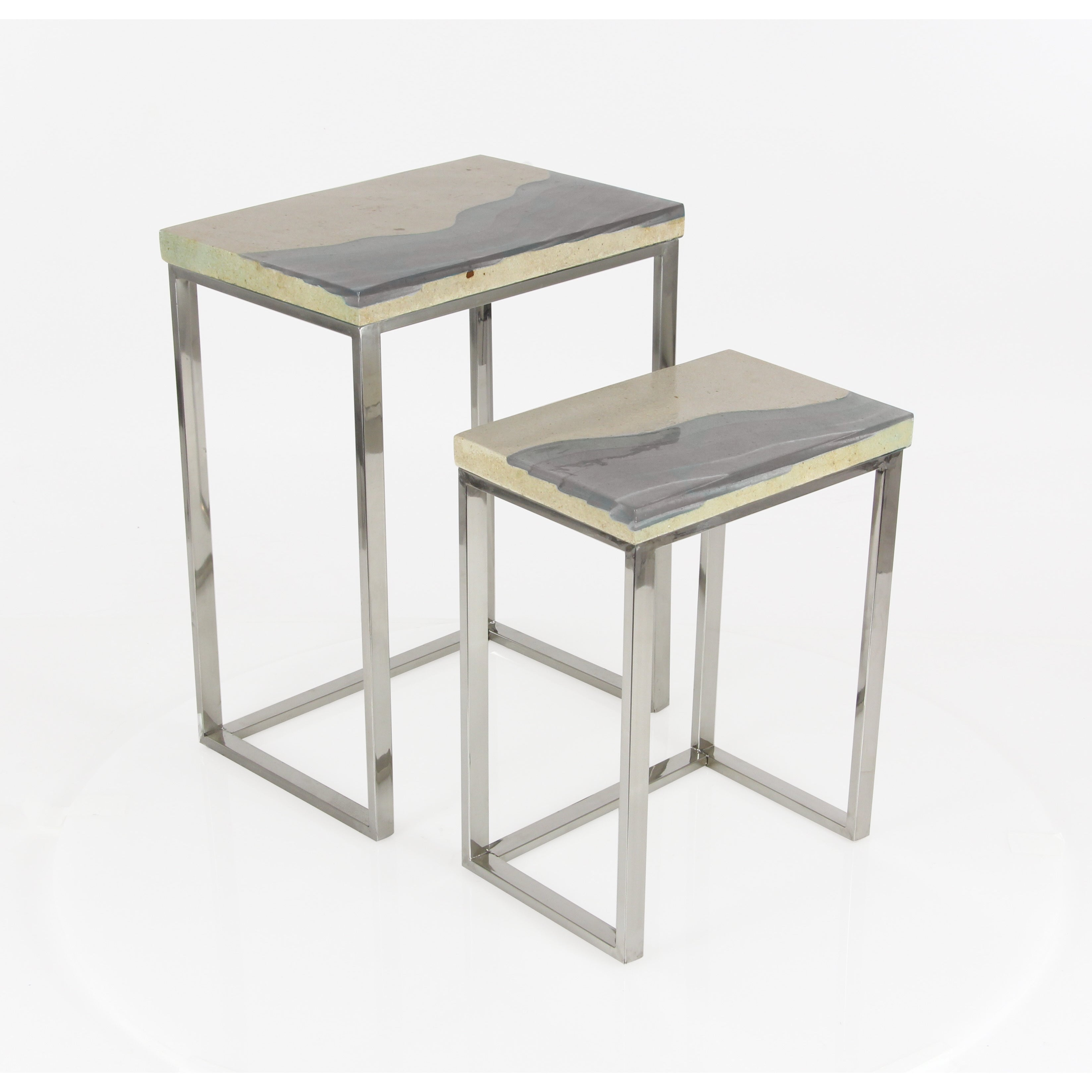 Beach Fancy Stainless Steel End Tables Set Of 2 Free Shipping Today 15097185