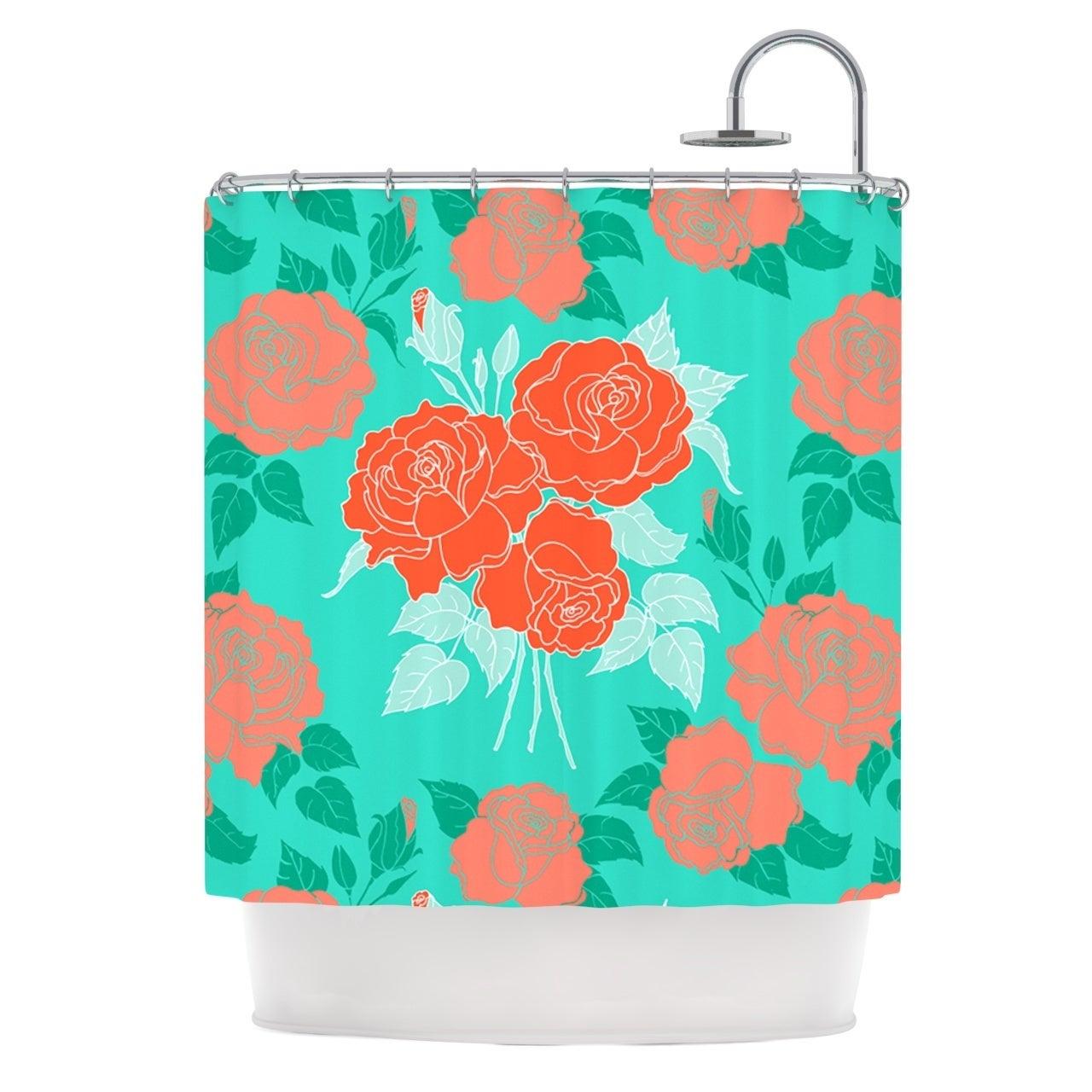 Shop KESS InHouse Anneline Sophia Summer Rose Orange Teal Green Shower Curtain 69x70