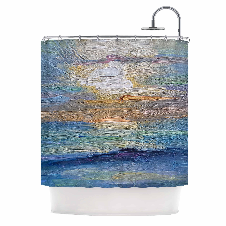 Shop KESS InHouse Carol Schiff Ocean Sunset Blue Coastal Shower Curtain 69x70