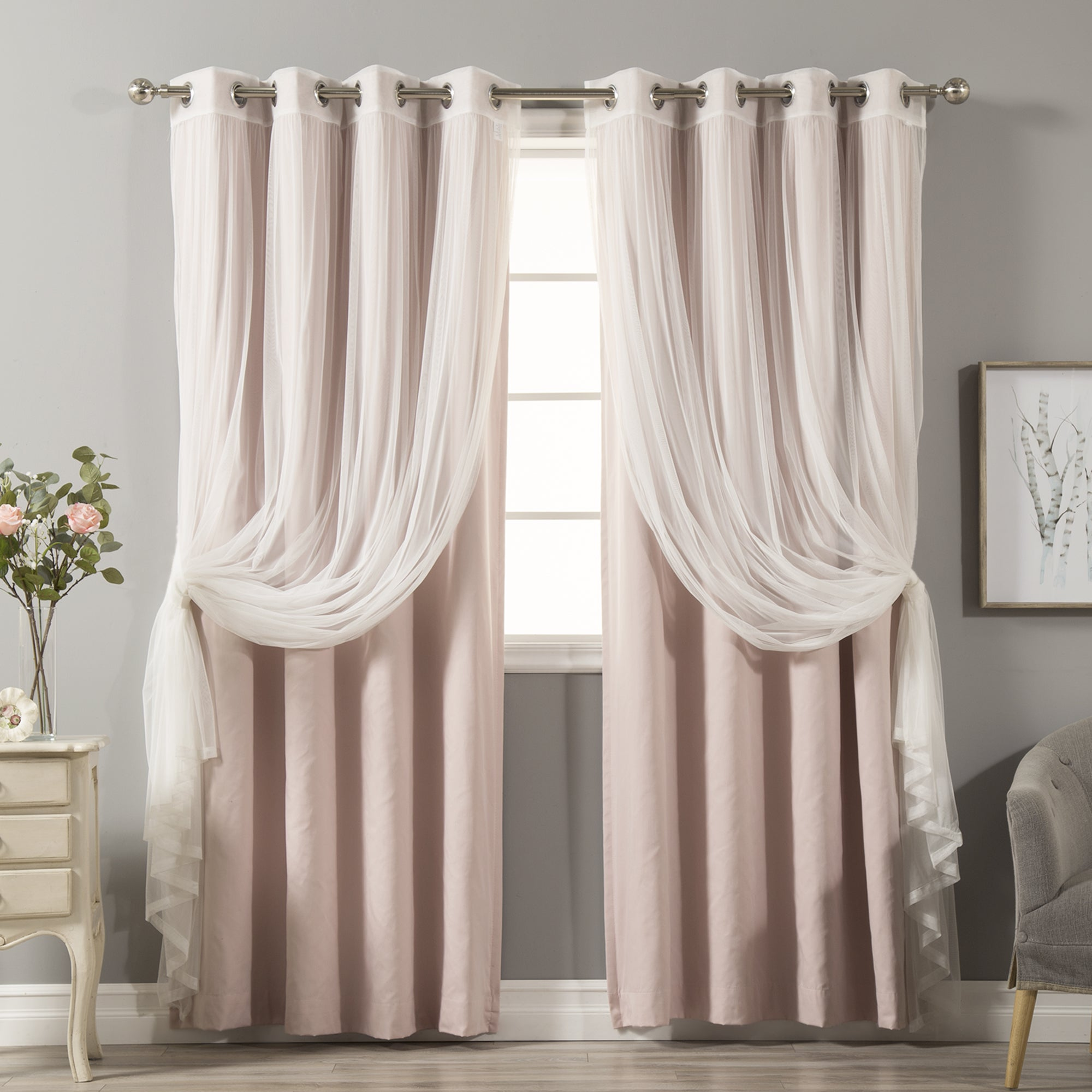 basketweave curtain pair room linen grom curtains grommet ivory default blackout darkening mod look