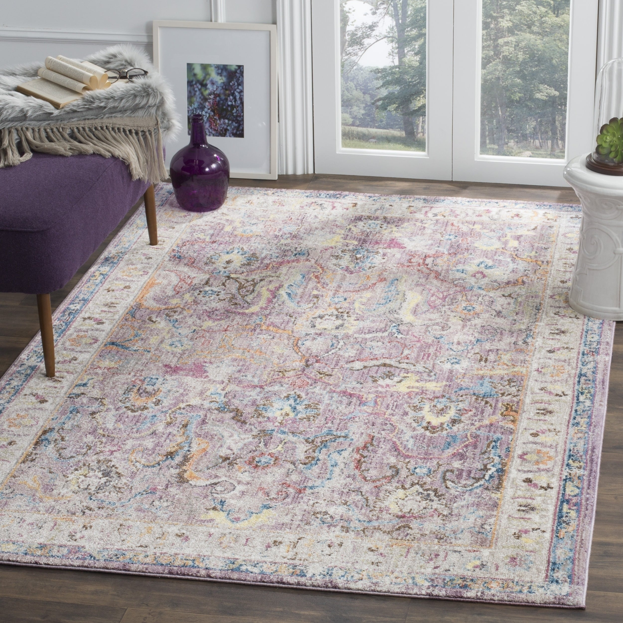Shop Safavieh Bristol Transitional Purple Grey Polyester Area Rug
