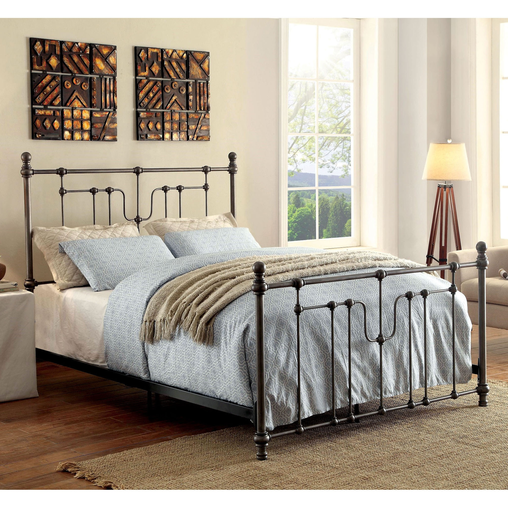 Shop furniture of america trenton vintage style grey metal bed on sale free shipping today overstock com 15175432
