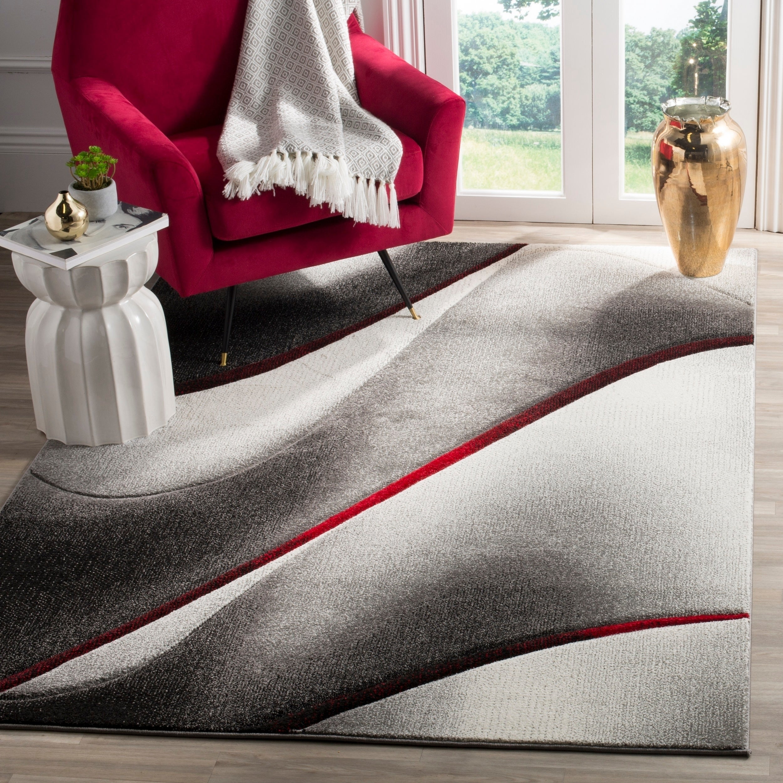 Safavieh Hollywood Grey Red Area Rug 5 3 X 7 6 On Free Shipping Today 15198925