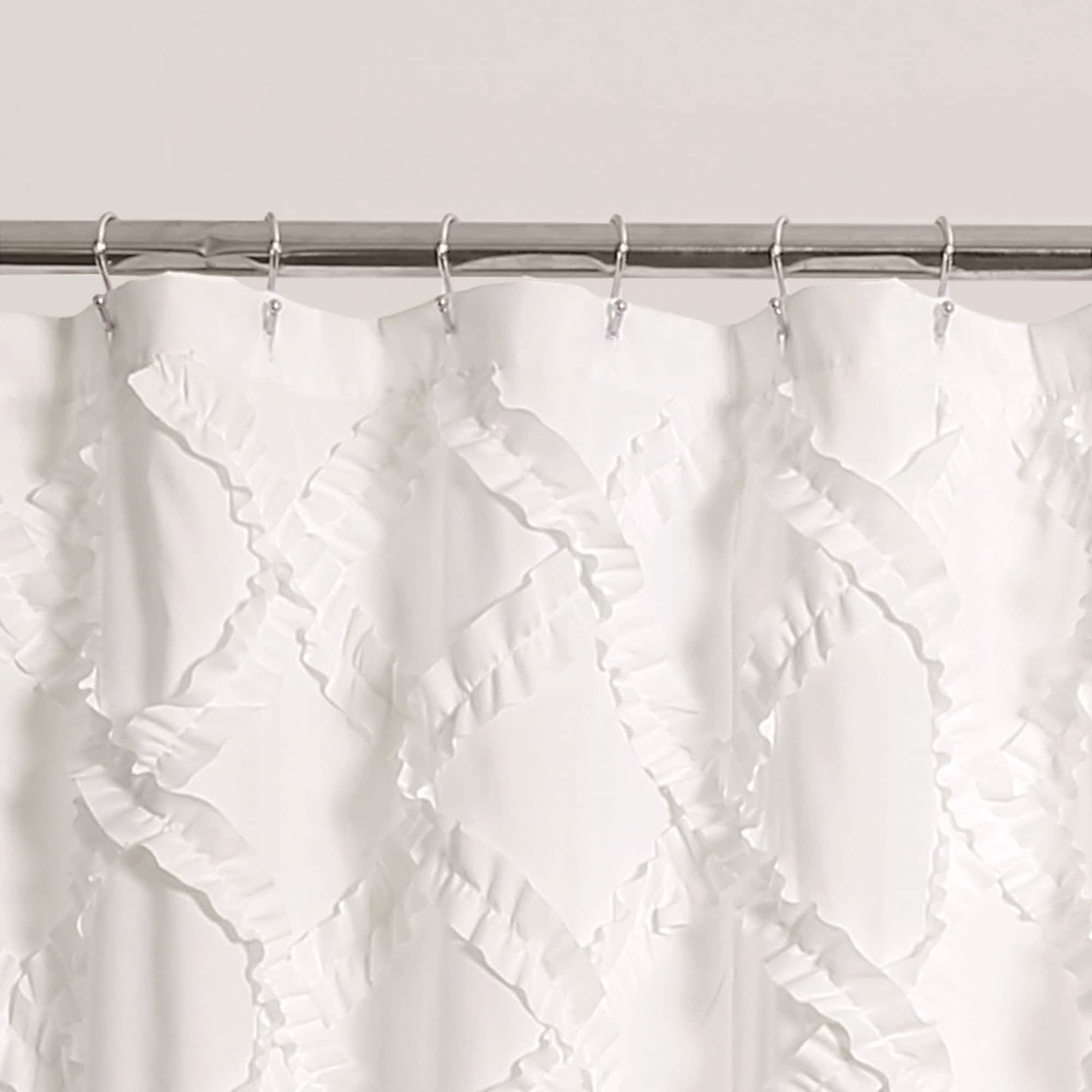Shop Lush Decor Ruffle Diamond Shower Curtain   Free Shipping Today    Overstock.com   15200907