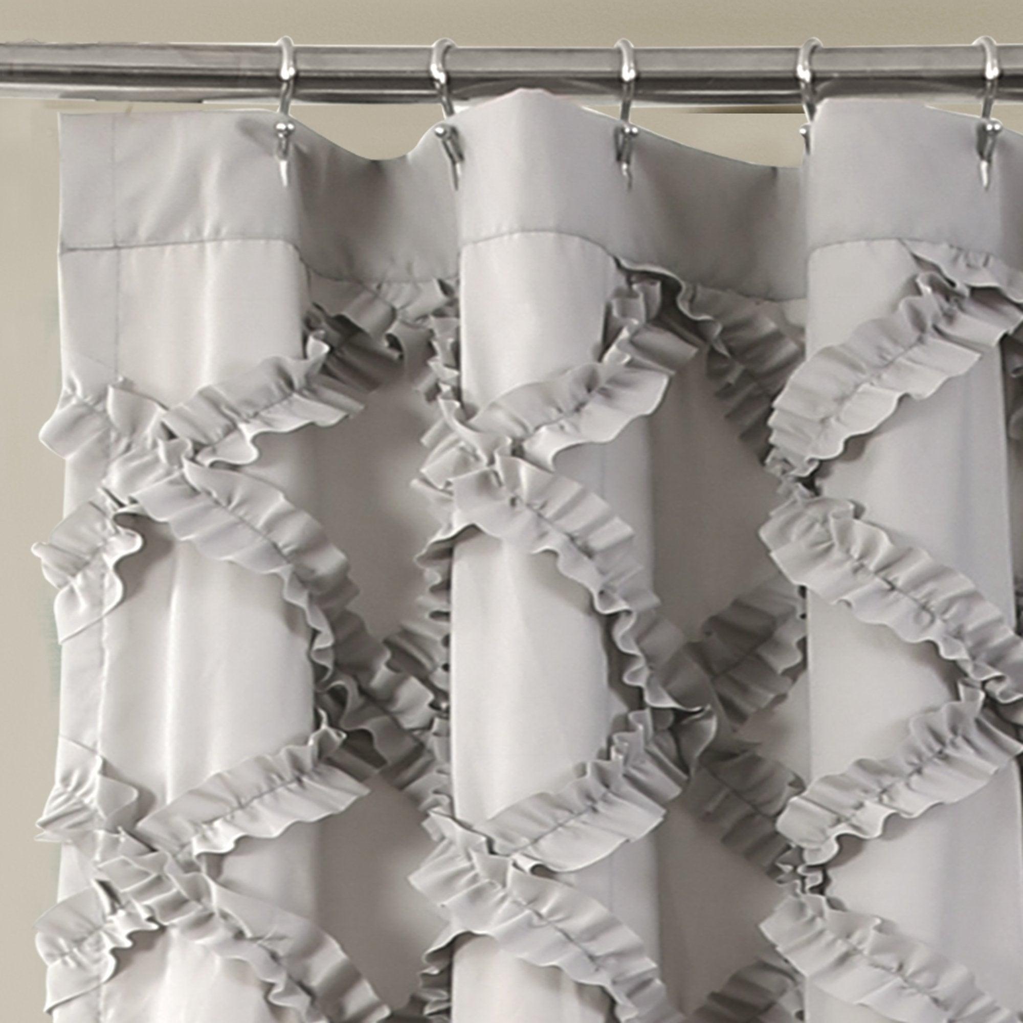 Shop Lush Decor Ruffle Diamond Shower Curtain
