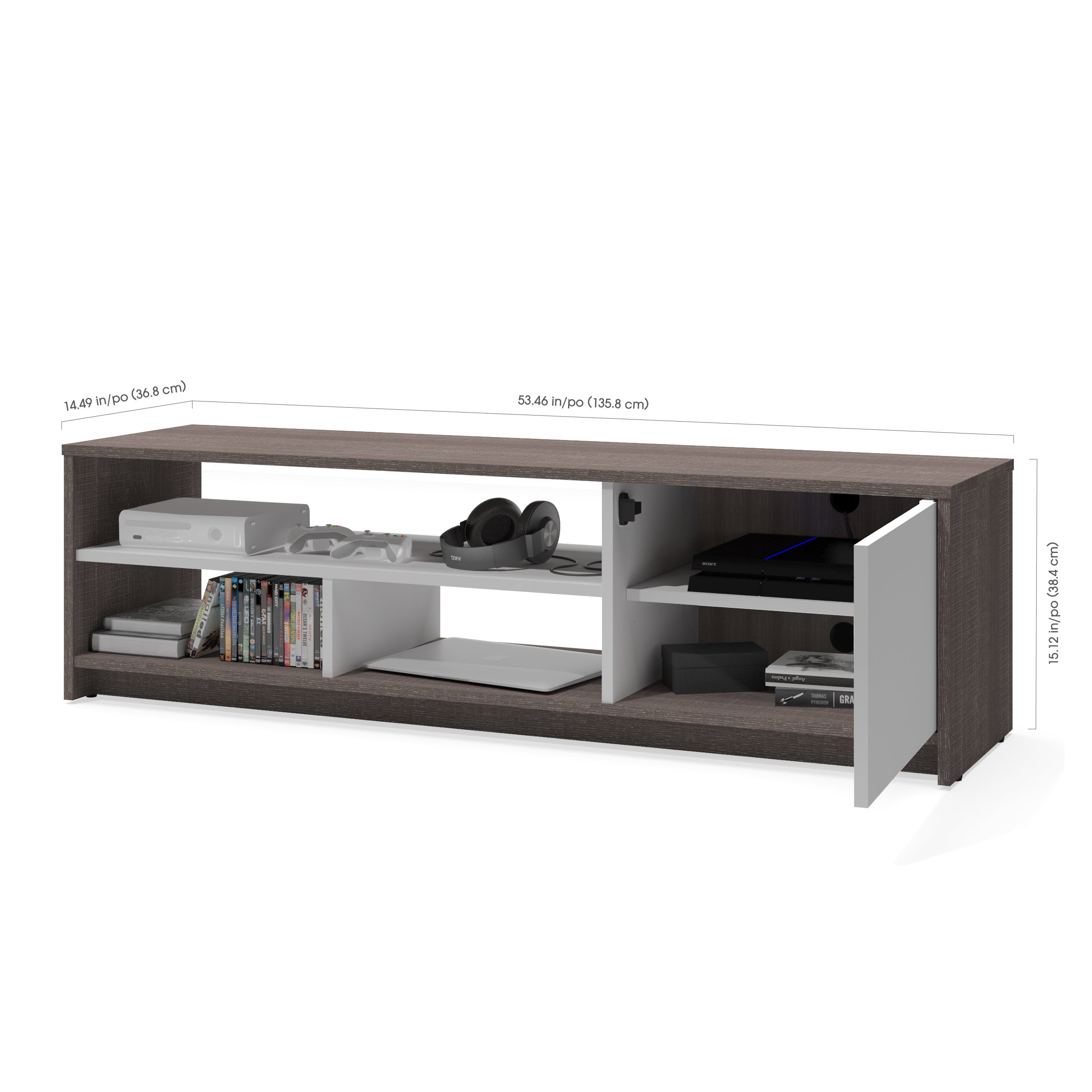 Bestar Small Space 3 Piece TV Stand and 2 Storage Towers Set