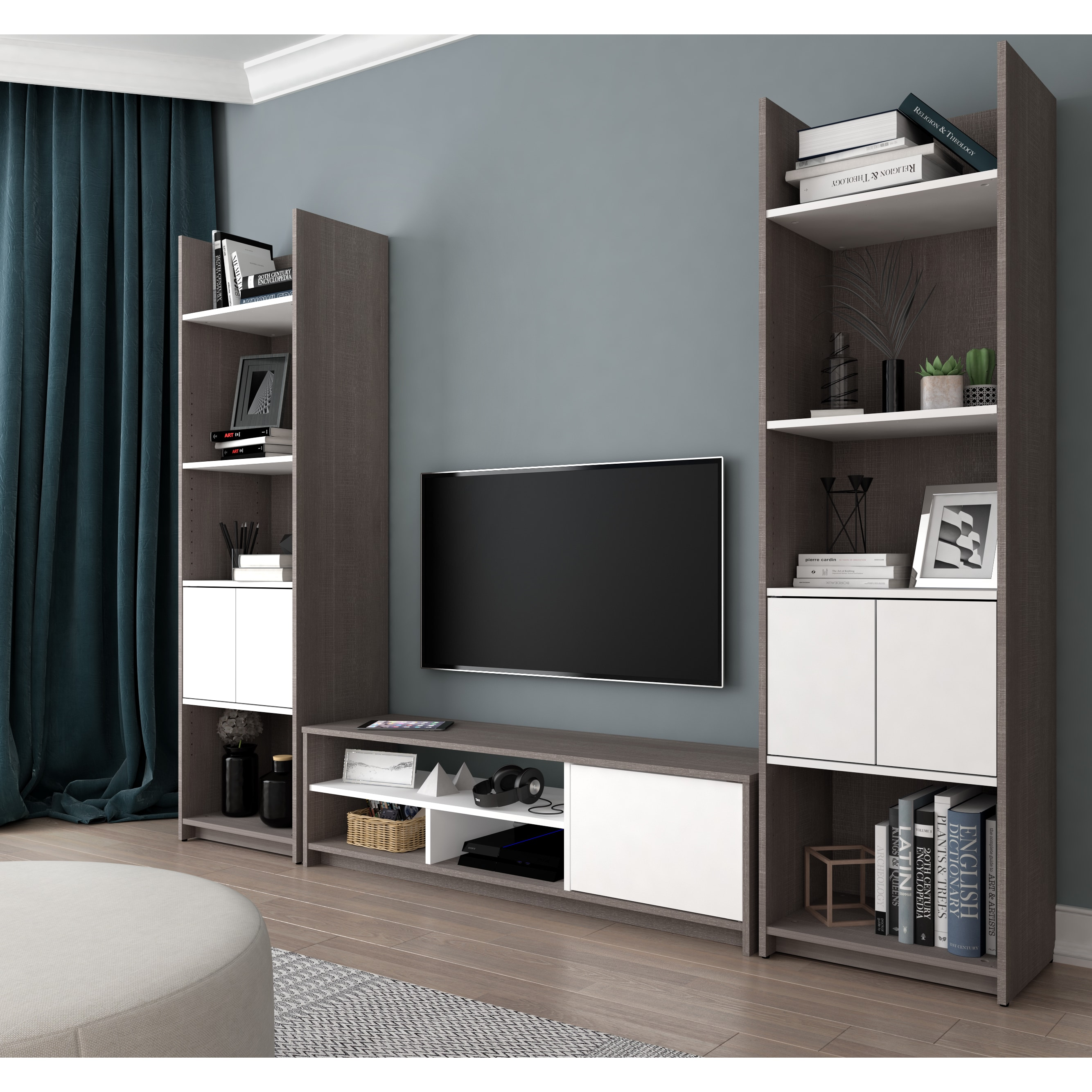 Bestar Small Space 3 Piece TV Stand and 2 Storage Towers Set Free