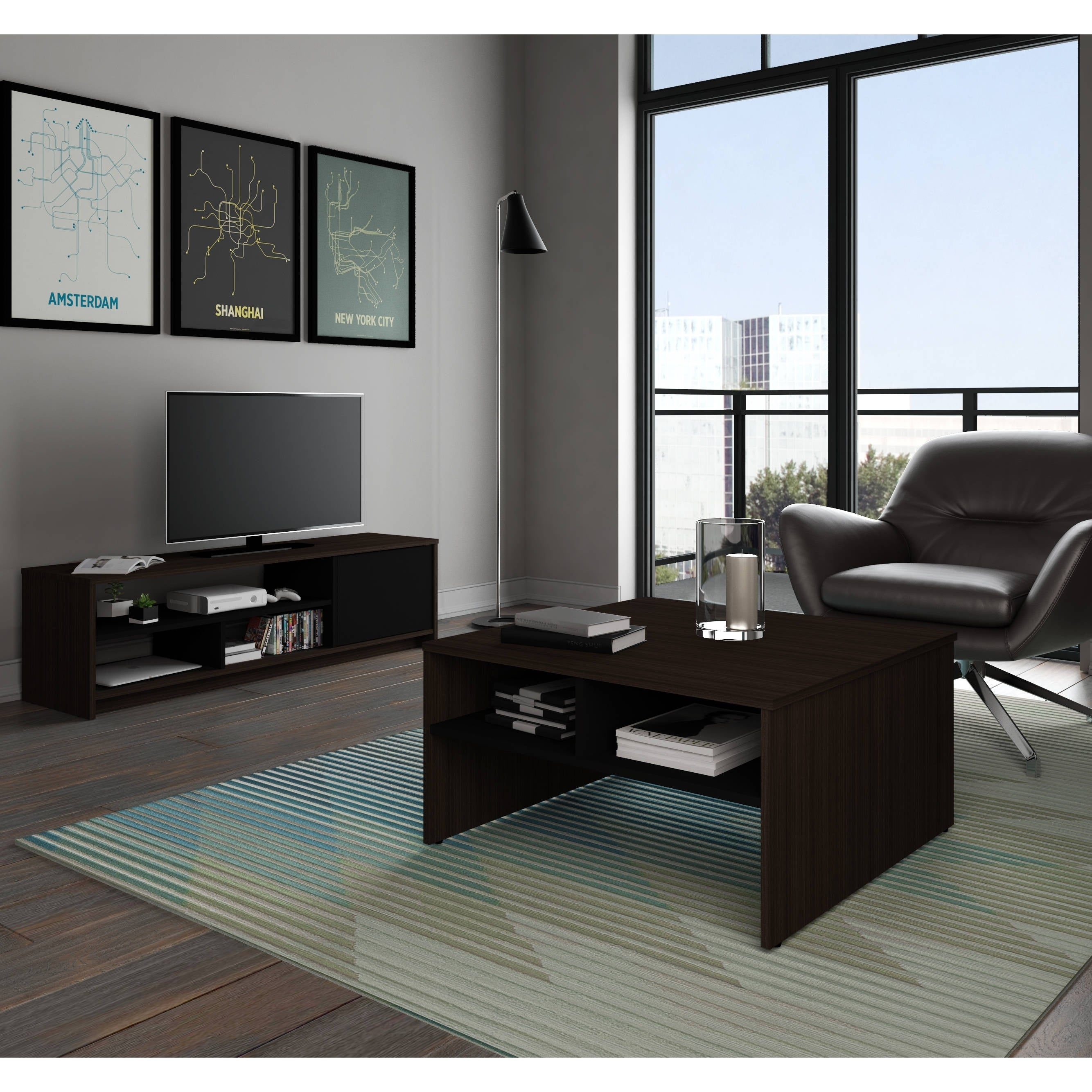 Superbe Bestar Small Space 2 Piece Storage Coffee Table And TV Stand Set