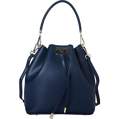 Sharo Deleite Navy Blue Leather Drawstring Satchel Handbag Free Shipping Today 21686518