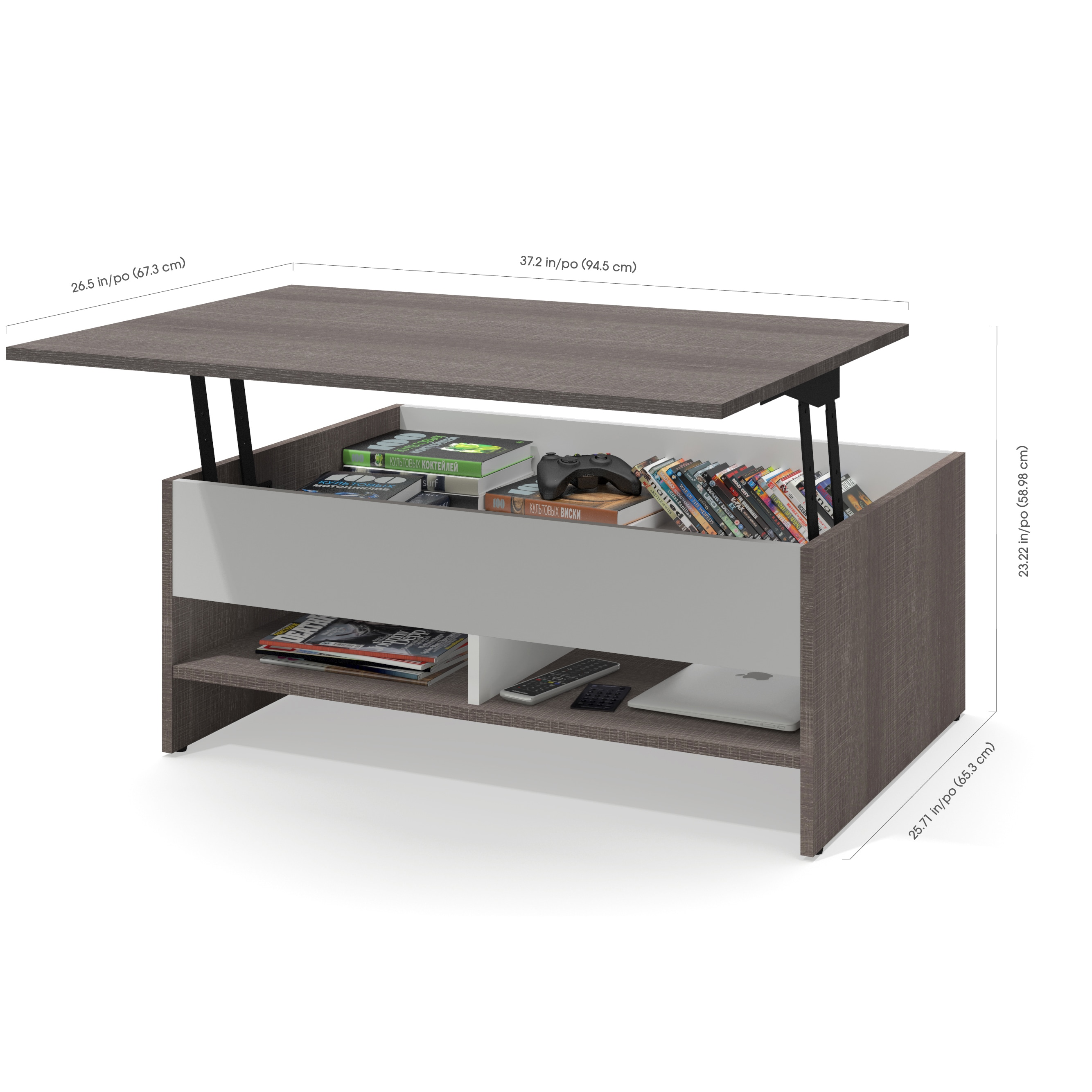 Shop Bestar Small Space 2 Piece Lift Top Storage Coffee Table and TV