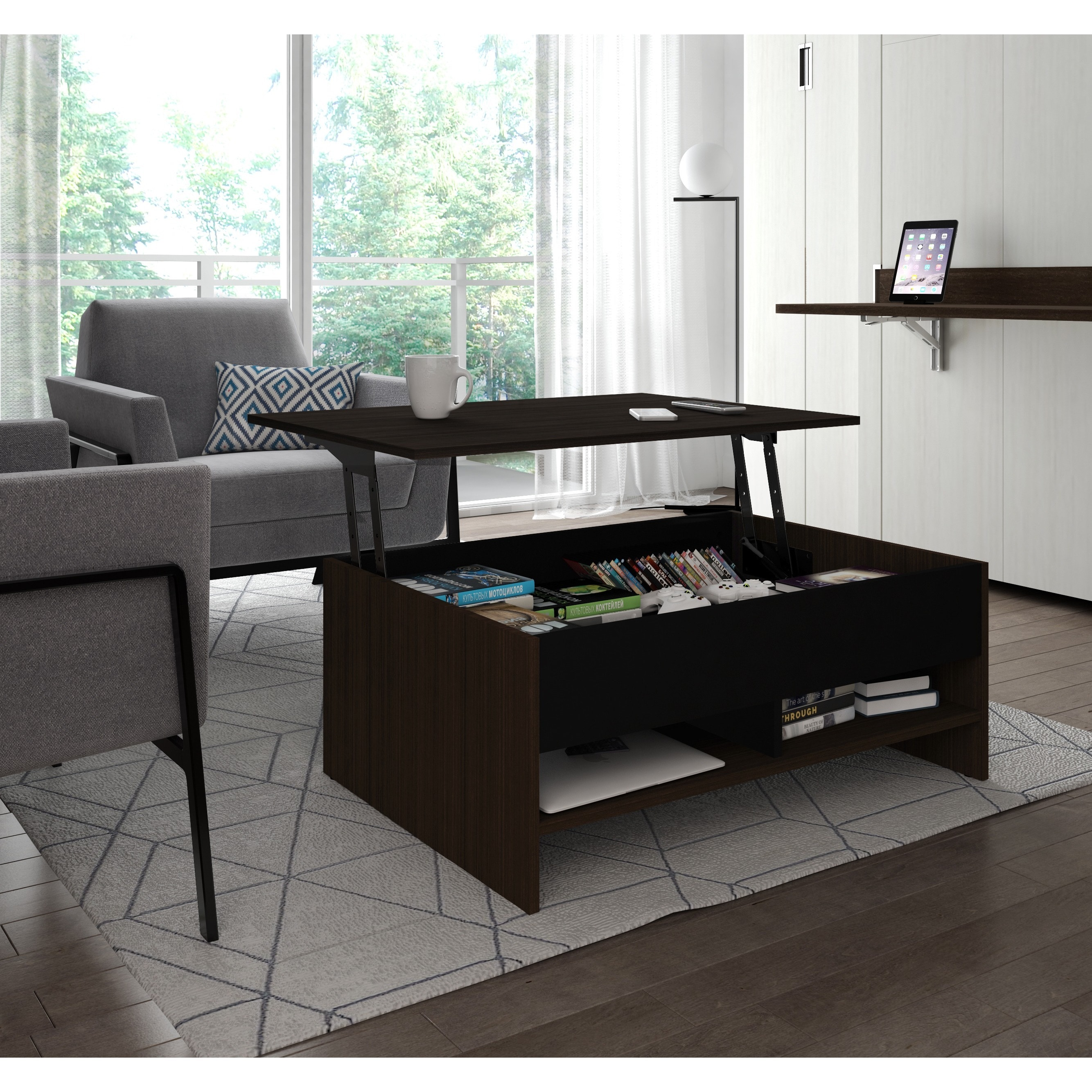 Bestar Small Space 37 inch Lift Top Storage Coffee Table Free