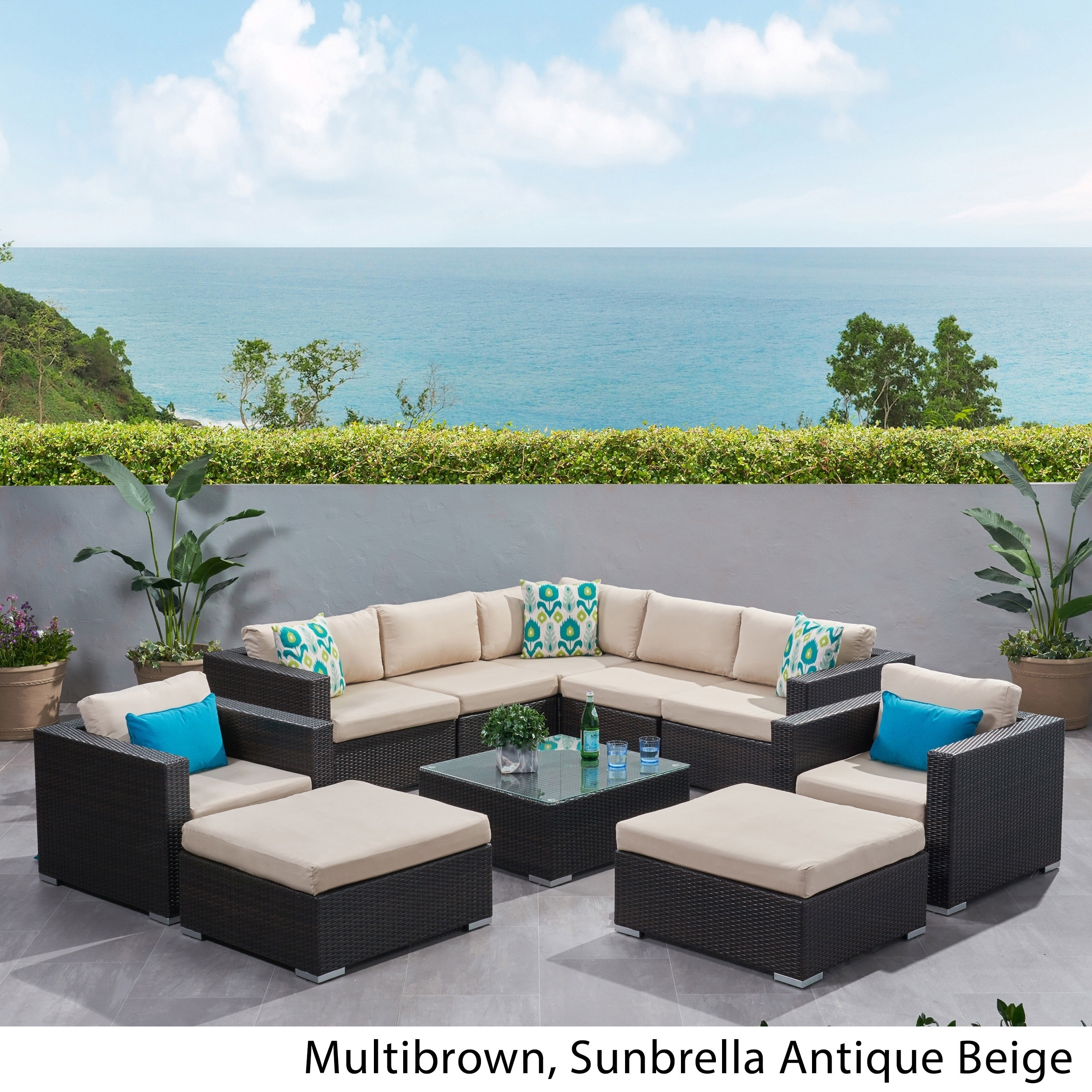 Shop Santa Rosa Outdoor 10-piece Wicker Sectional Sofa Set with ...