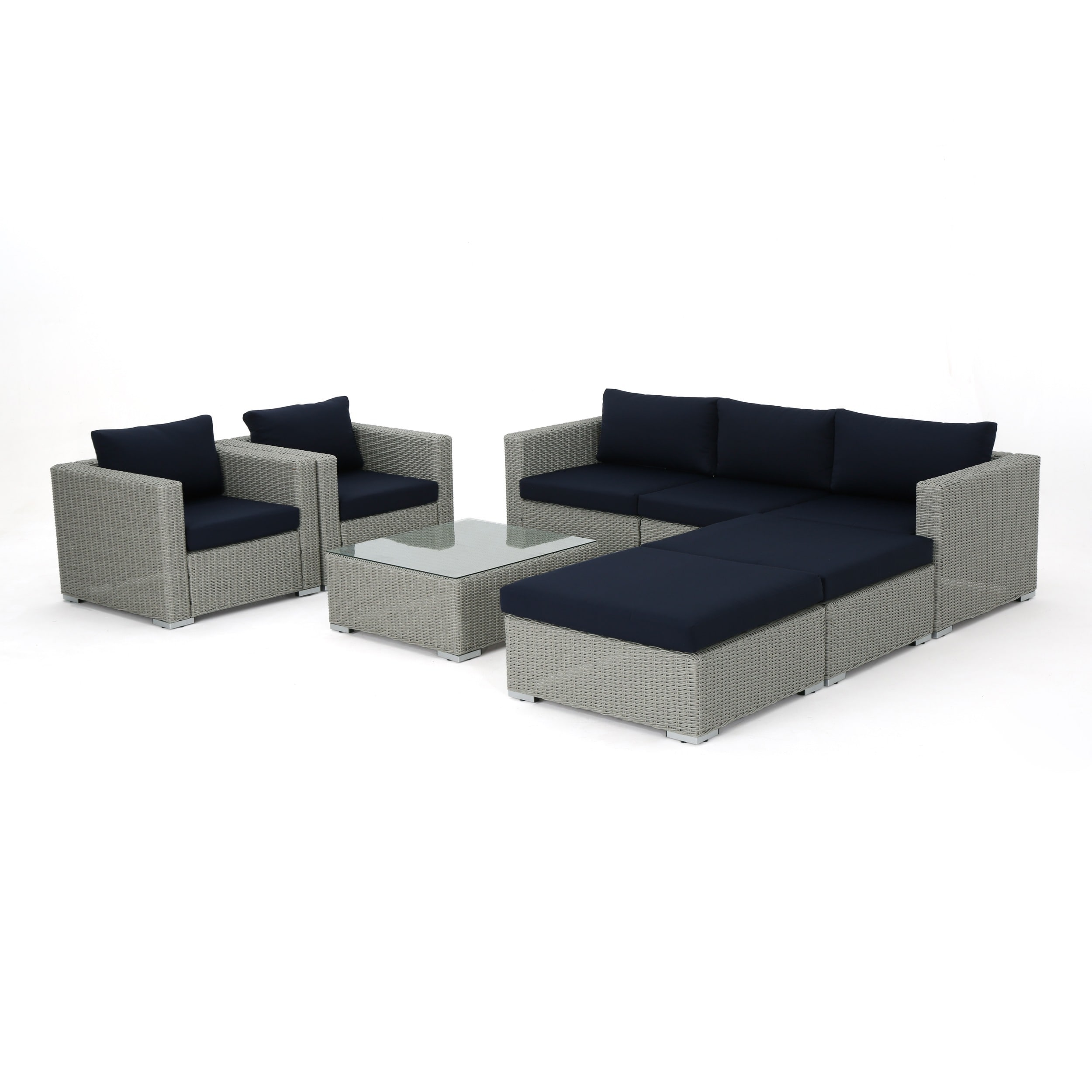 Shop Santa Rosa Outdoor 8 Piece Wicker Sectional Sofa Set With