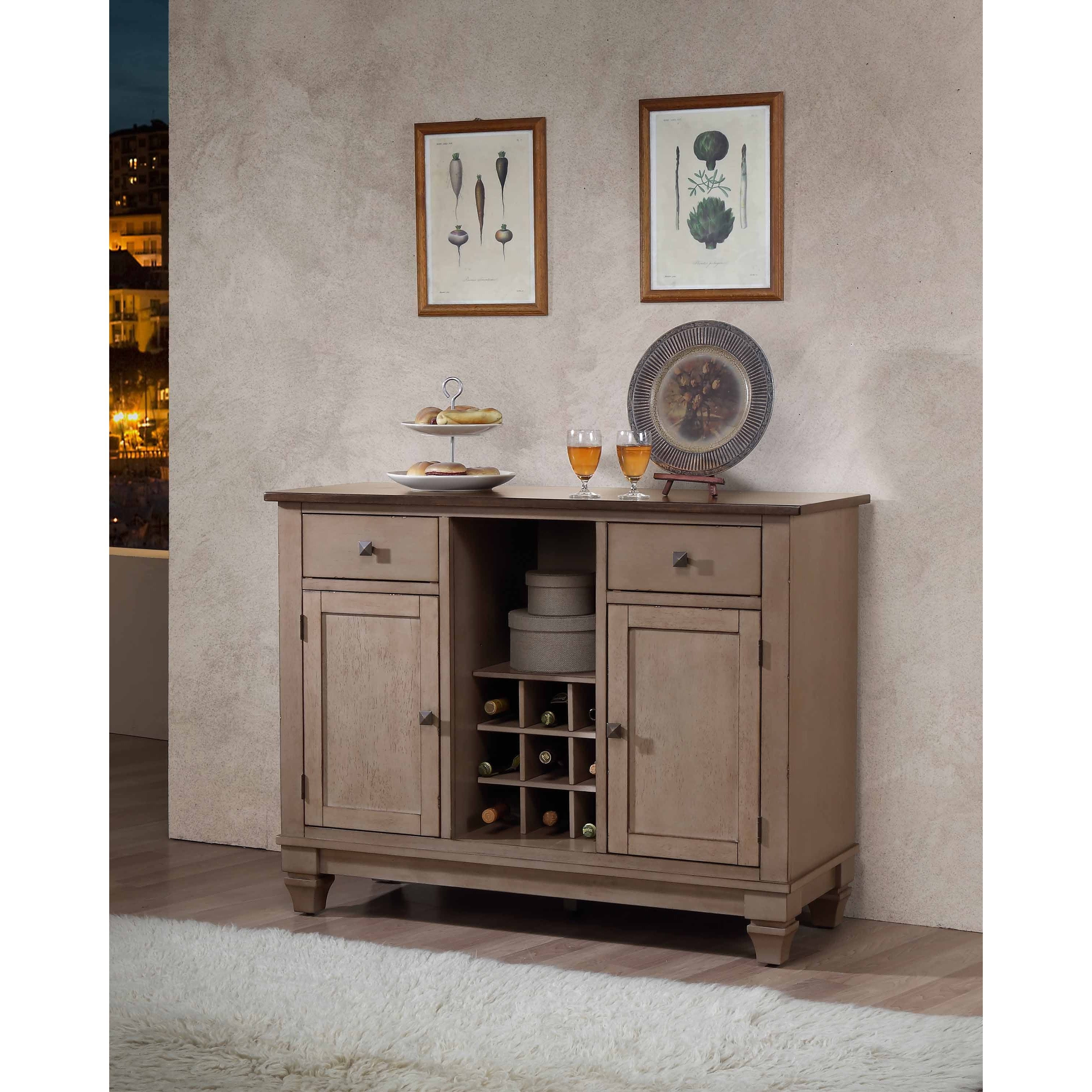K And B Furniture Co Inc Brown Wood Wine Rack Sideboard Buffet Server Storage Cabinet With Drawers Shelf Doors Free Shipping Today