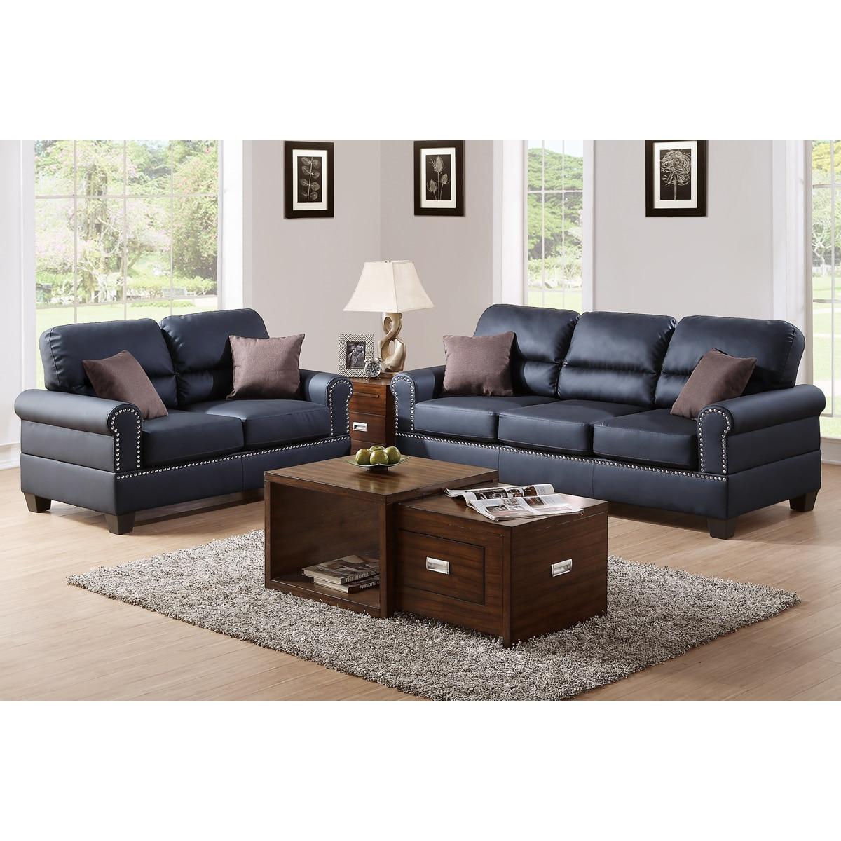 Bobkona Shelton Leather 2 Piece Sofa And Loveseat Set Free Shipping Today 15219904