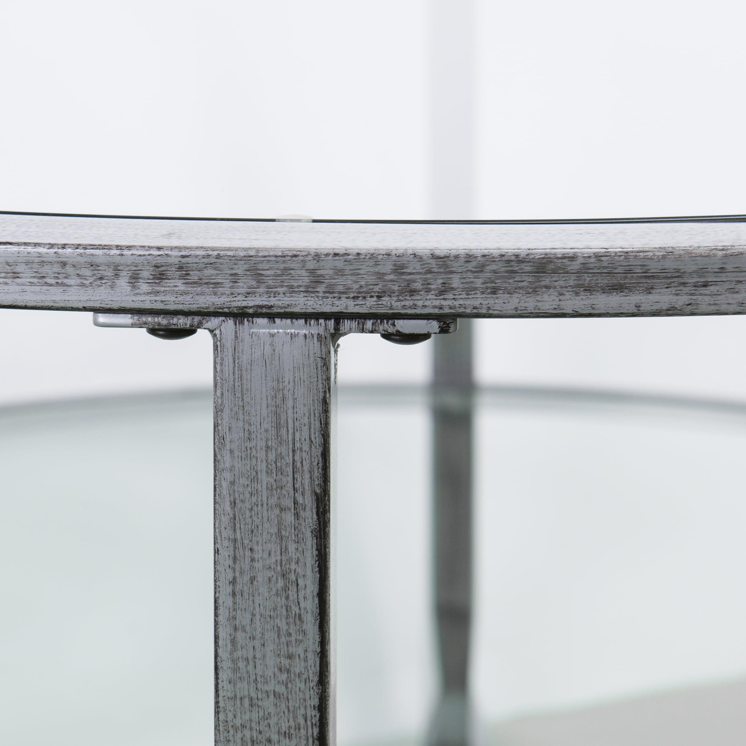 Harper Blvd Jensen Metal Glass Round Cocktail Table Silver