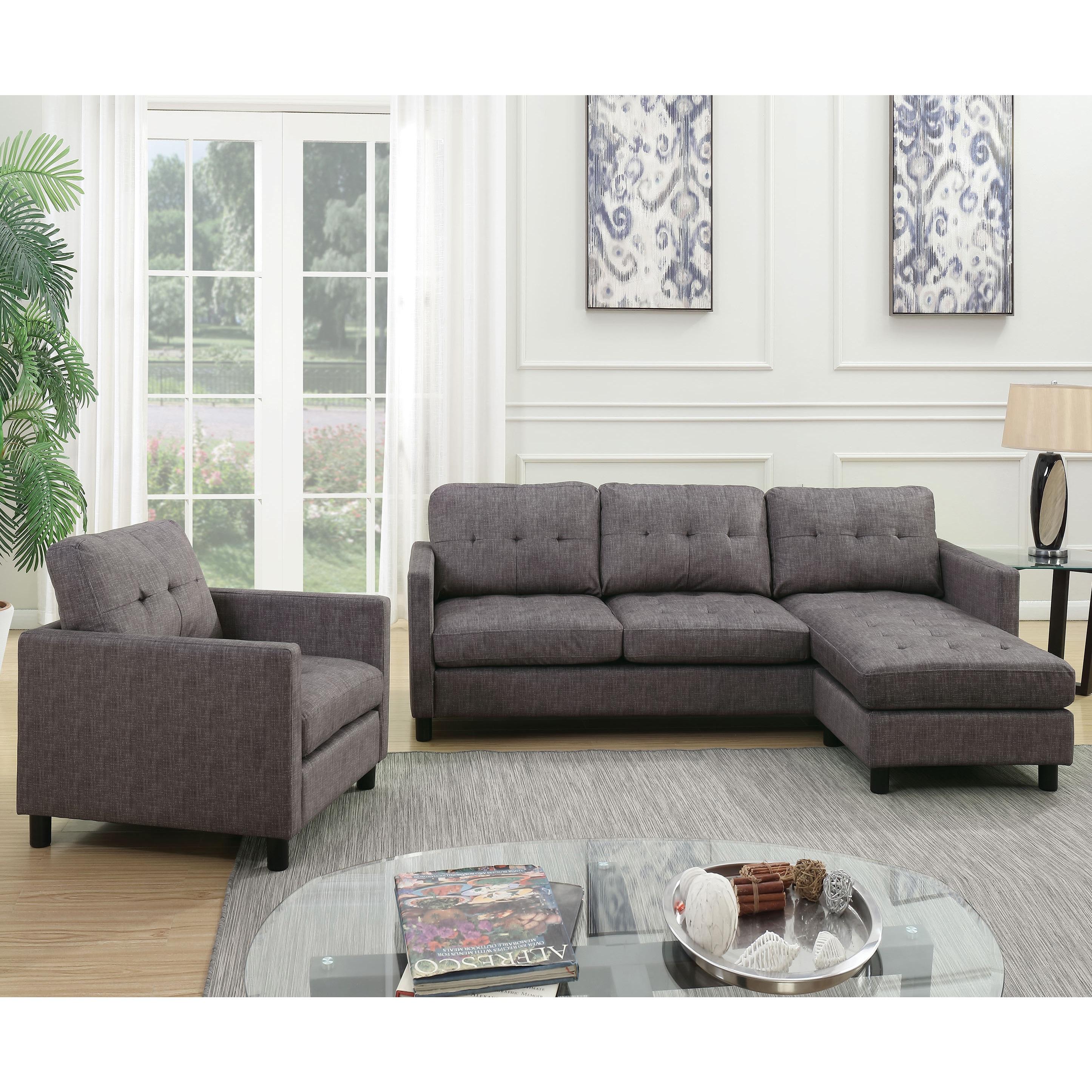 Shop Acme Furniture Ceasar Sectional Sofa Revisable Ottoman Gray