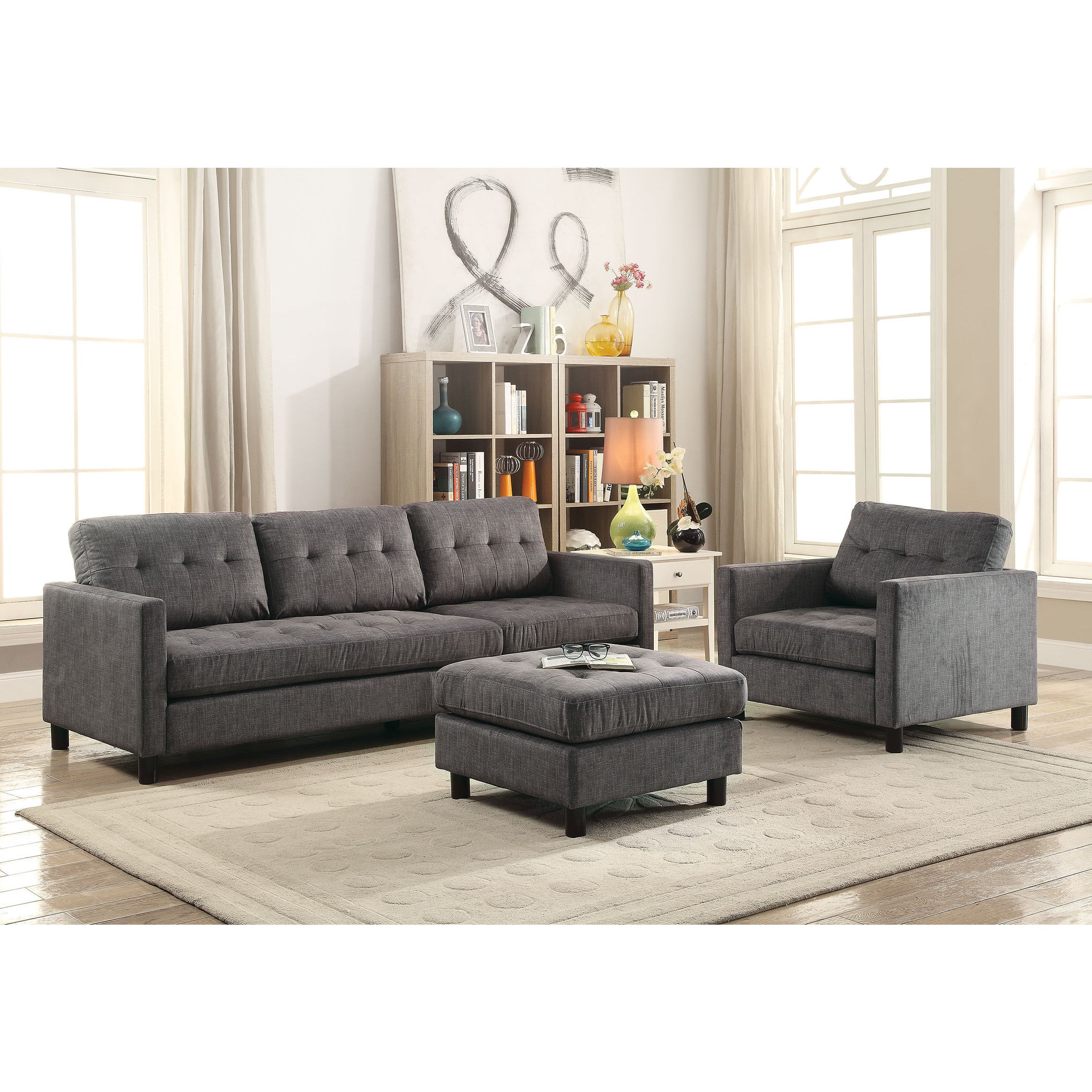 Shop Acme Furniture Ceasar Sectional Sofa U0026 Revisable Ottoman, Gray Fabric    Free Shipping Today   Overstock.com   15219959