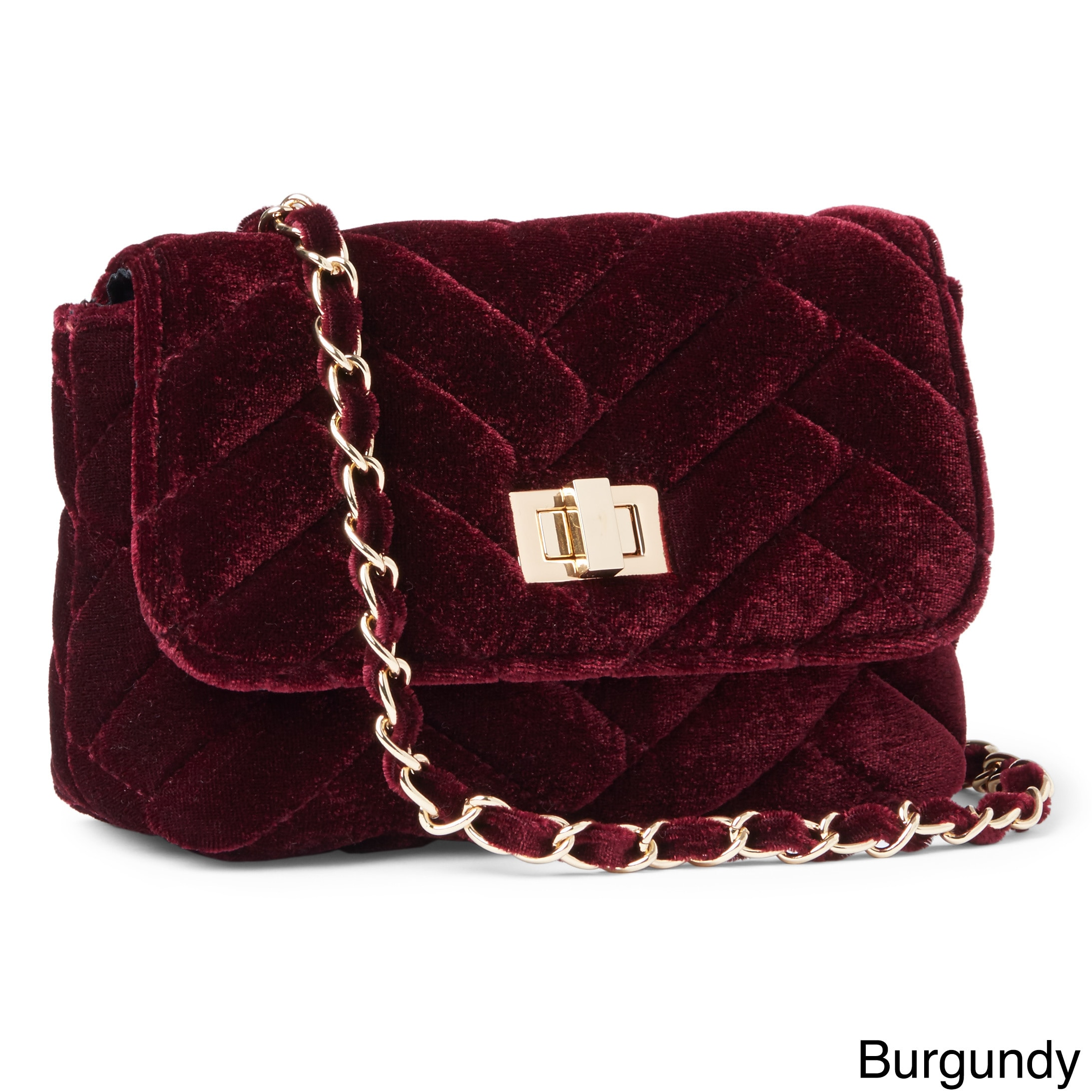 Shop Steve Madden Chant Quilted Velvet Chain Strap Crossbody Handbag