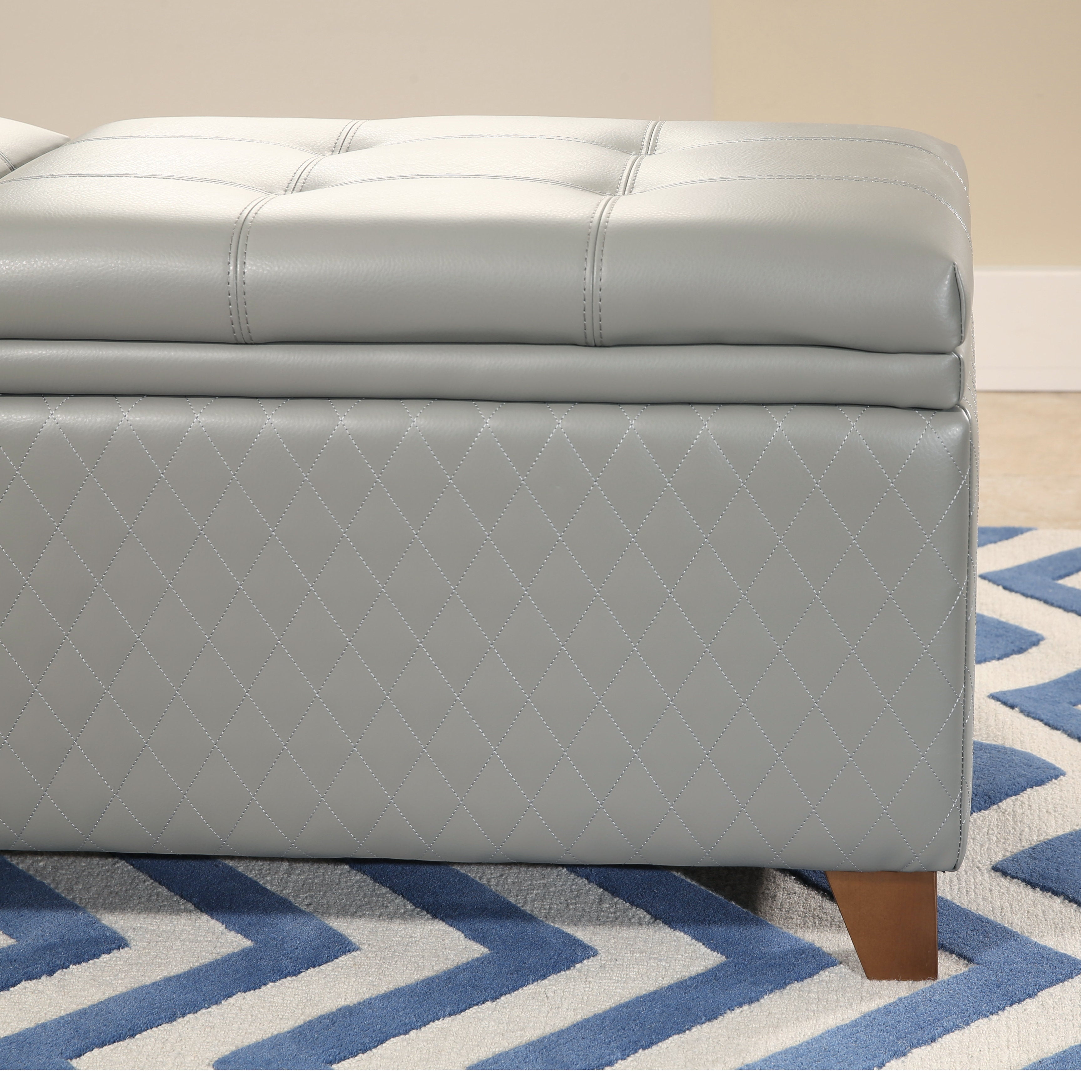 Shop Abbyson Matlock Grey Bonded Leather Quilted Storage Ottoman