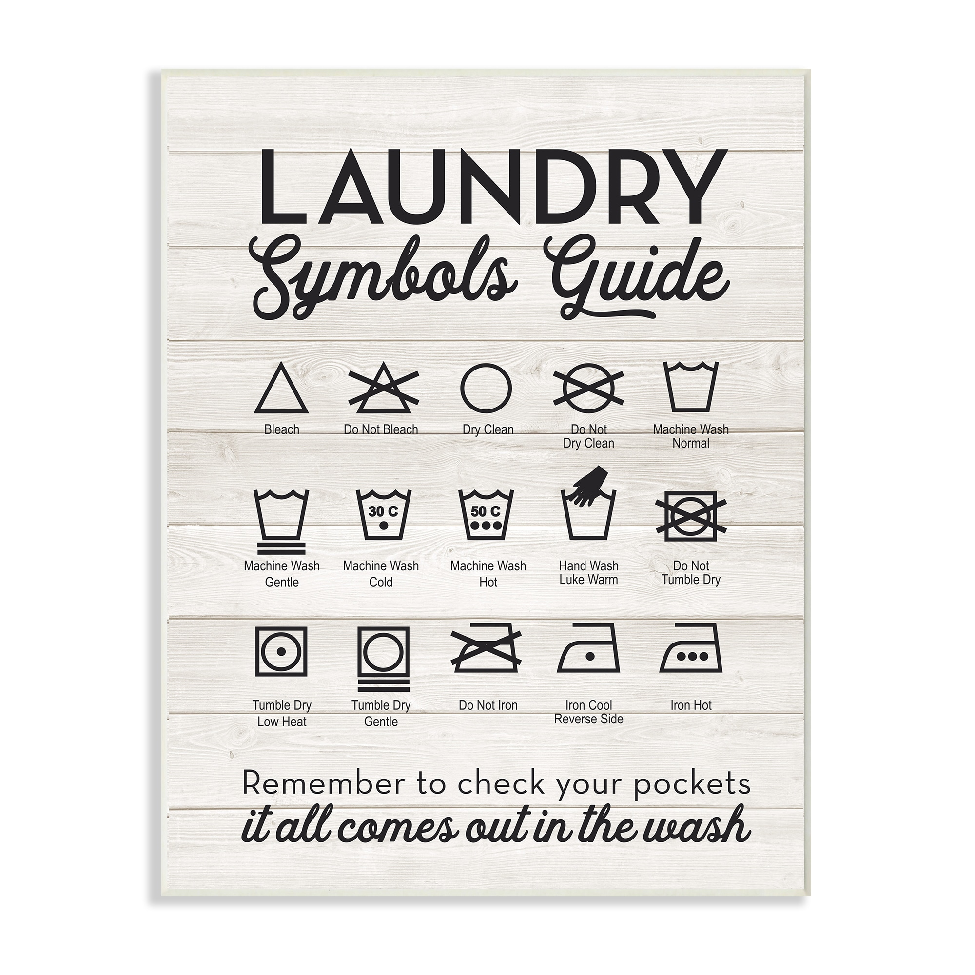Laundry Wall Plaque Laundry Symbols Guide Typography Wall Plaque Art  Free Shipping