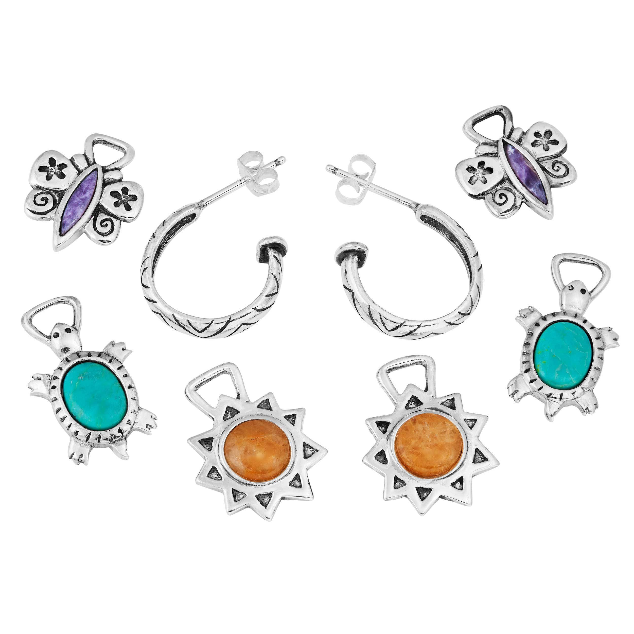 precious products interchangeable semi hoop on pair earrings pack stones slide