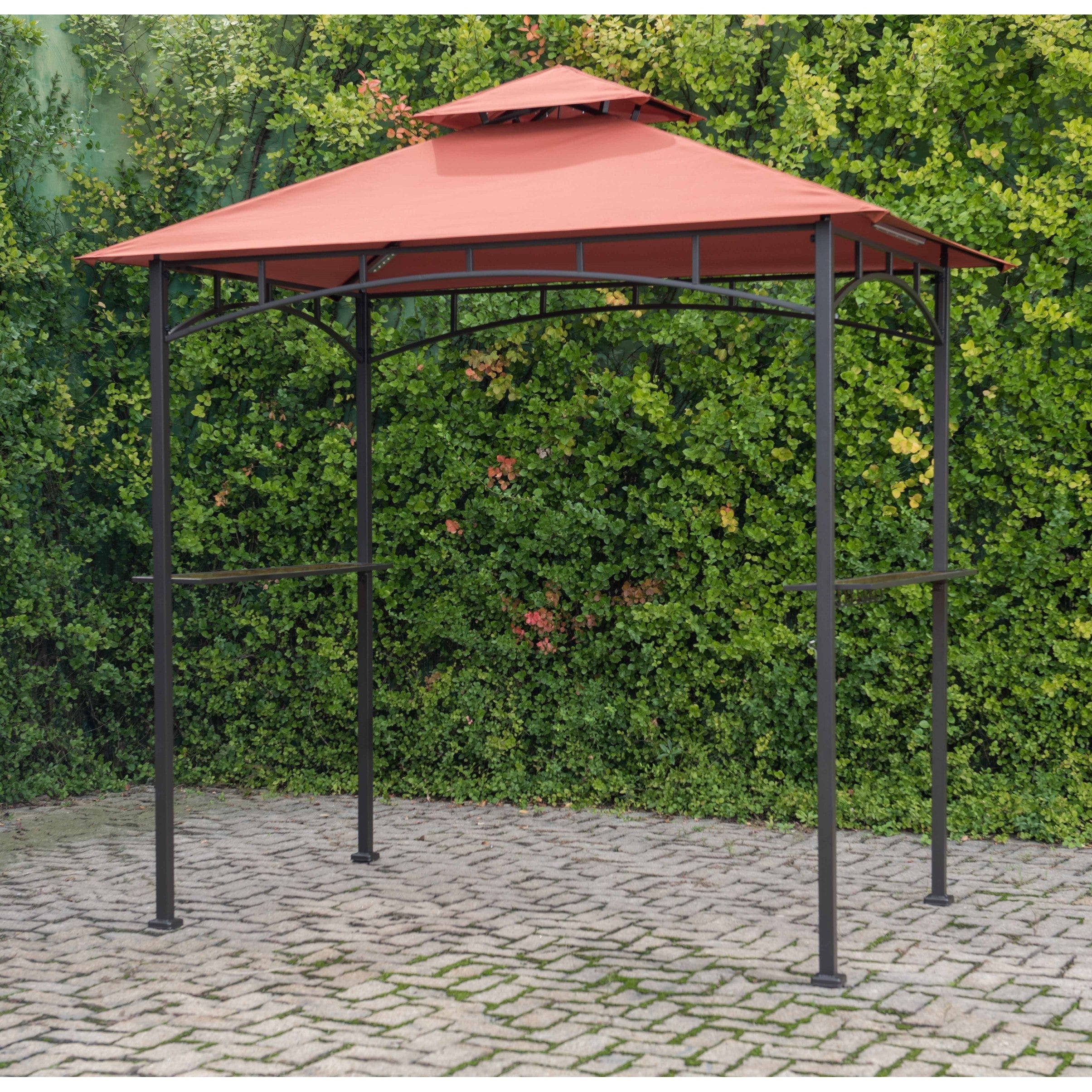 area your attractive bbq over gazebo showers with dp protection two shelter tables ecommerce by bar awning glass granite from give barbecue comes provides sturdy