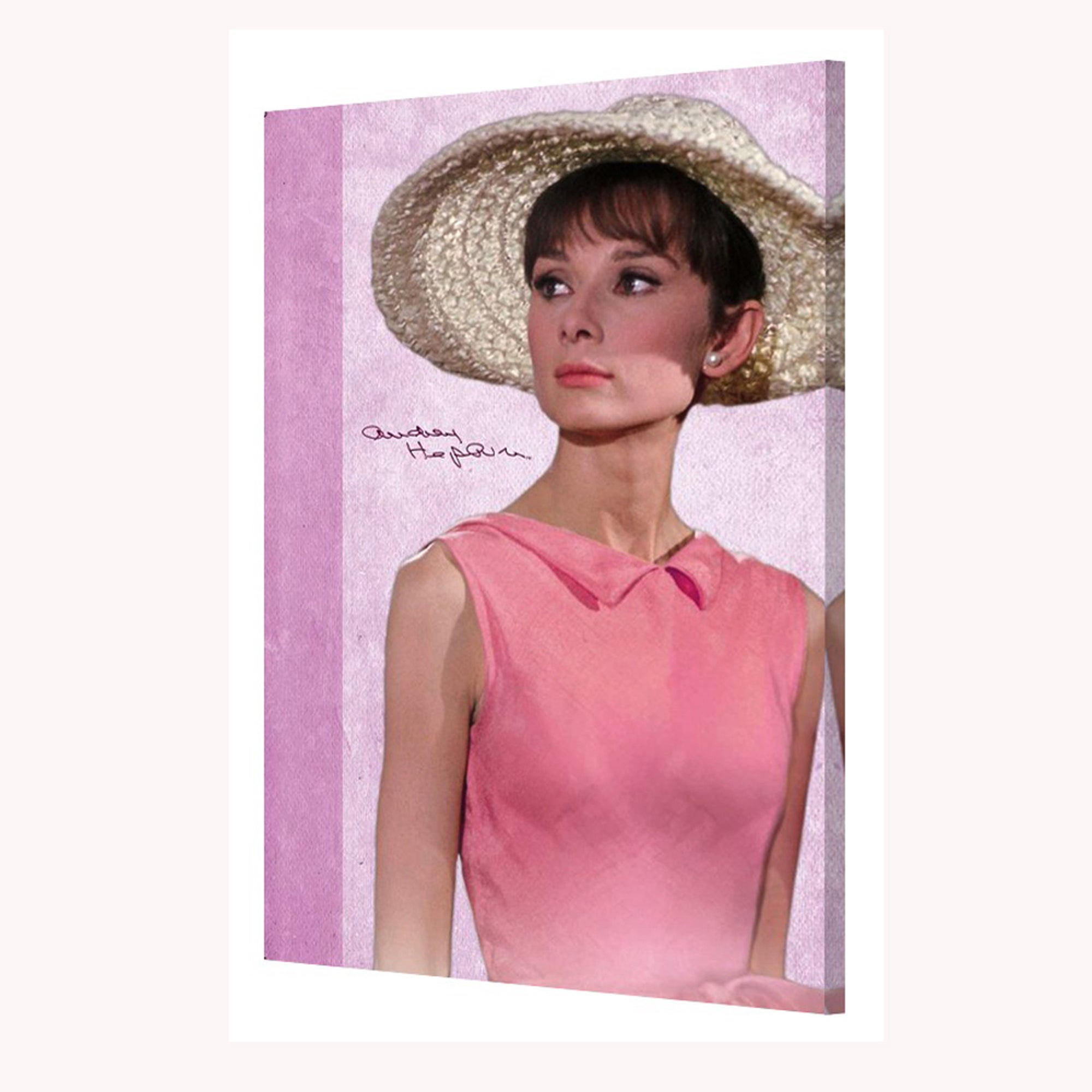 Shop \'Audrey Hepburn Pink Dress\' 24x36 Gallery-Wrapped Canvas Wall ...